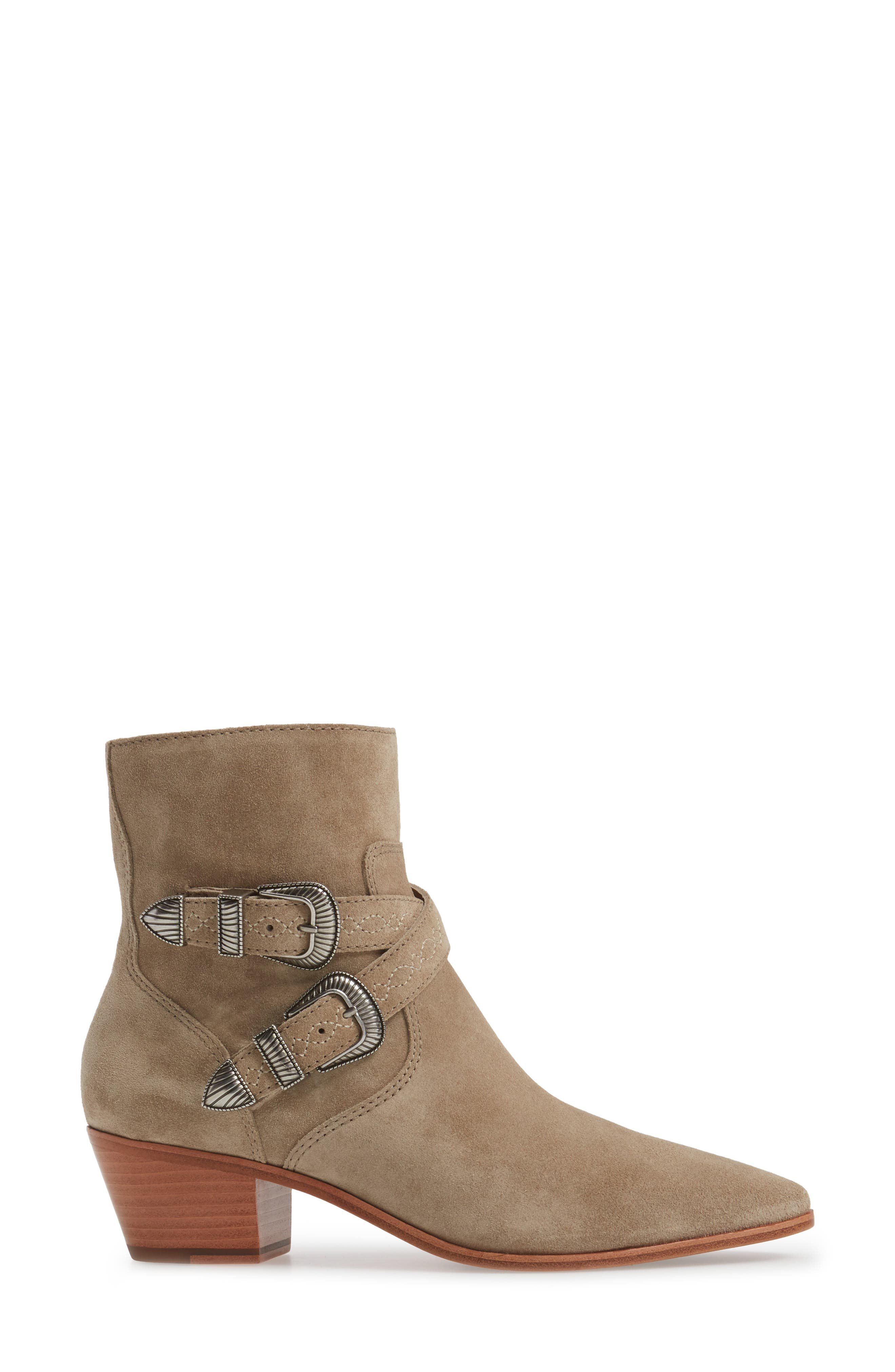 Ellen Buckle Strap Bootie,                             Alternate thumbnail 3, color,                             ASH
