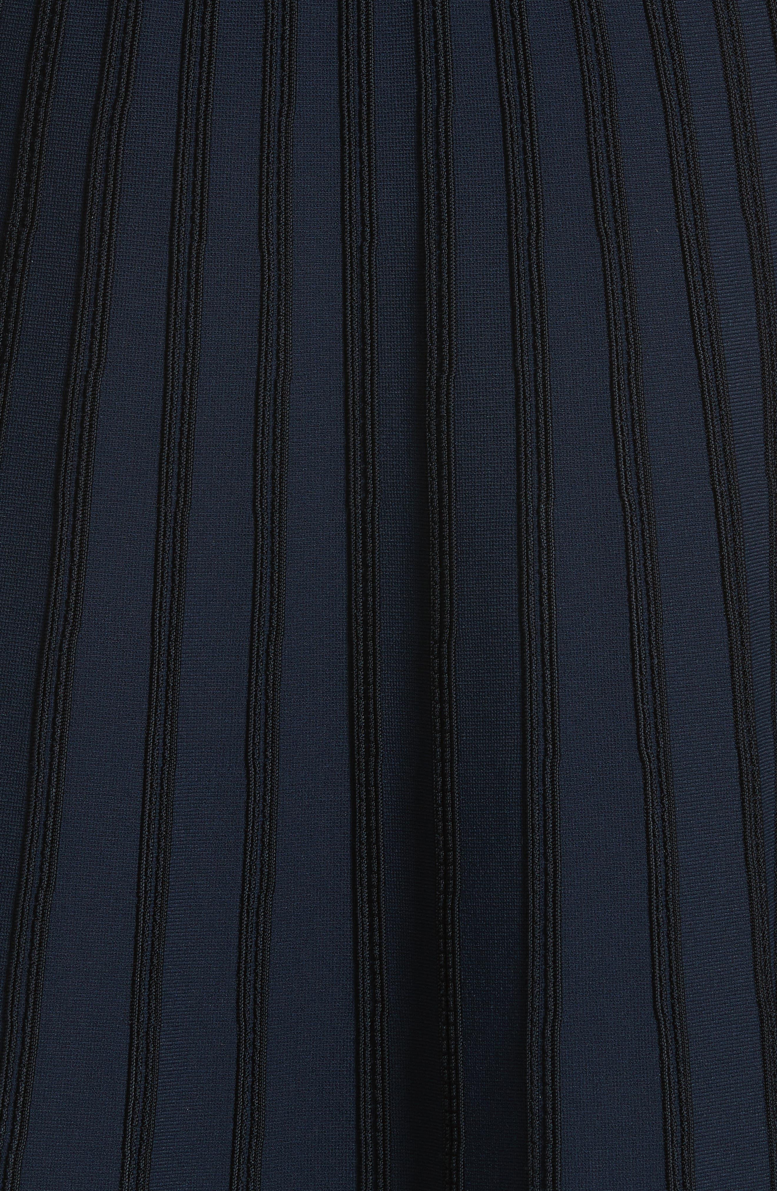 Scallop Trim Stripe Dress,                             Alternate thumbnail 5, color,                             410
