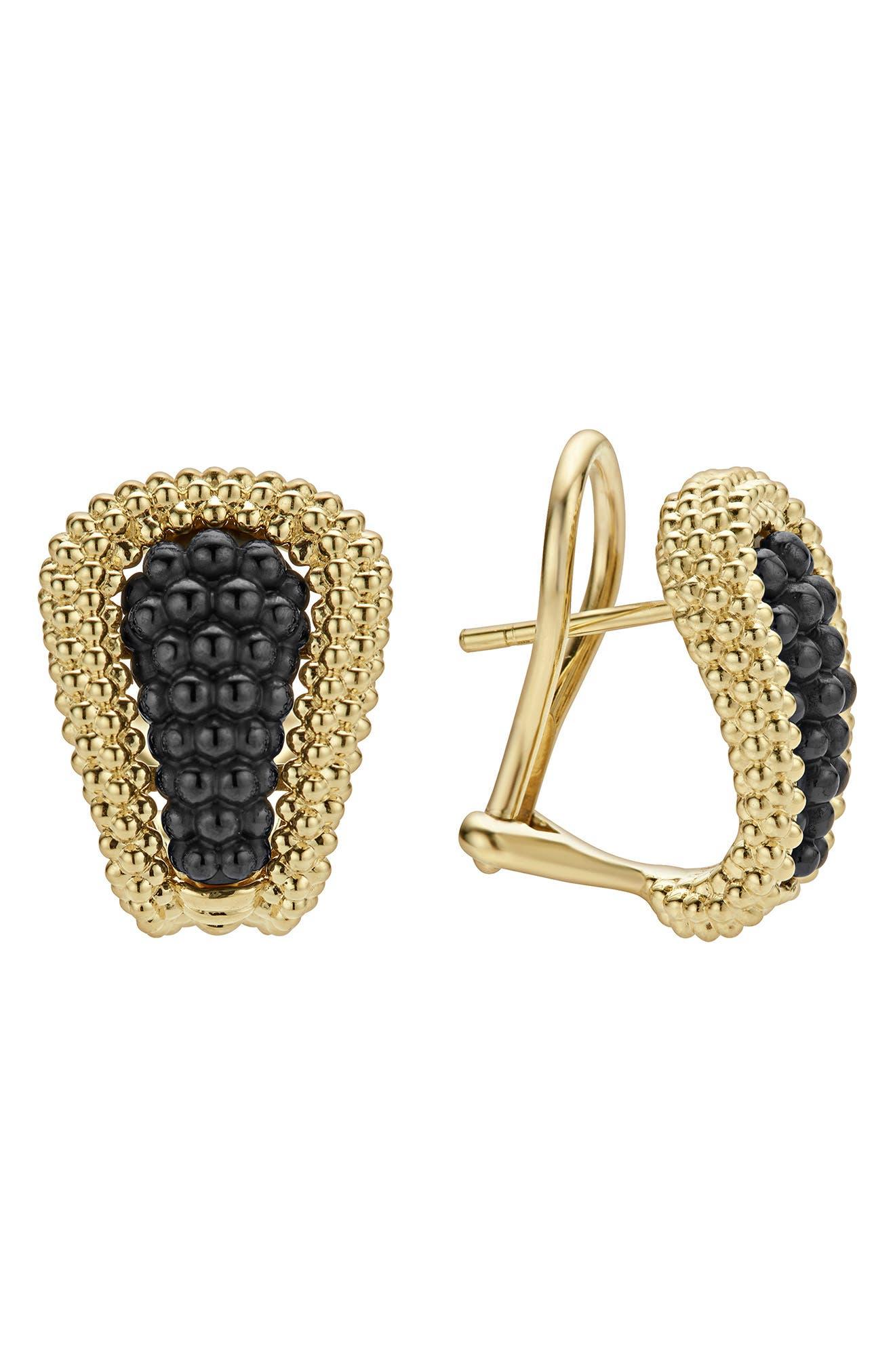 Gold & Black Caviar Tapered Omega Earrings,                             Main thumbnail 1, color,                             GOLD