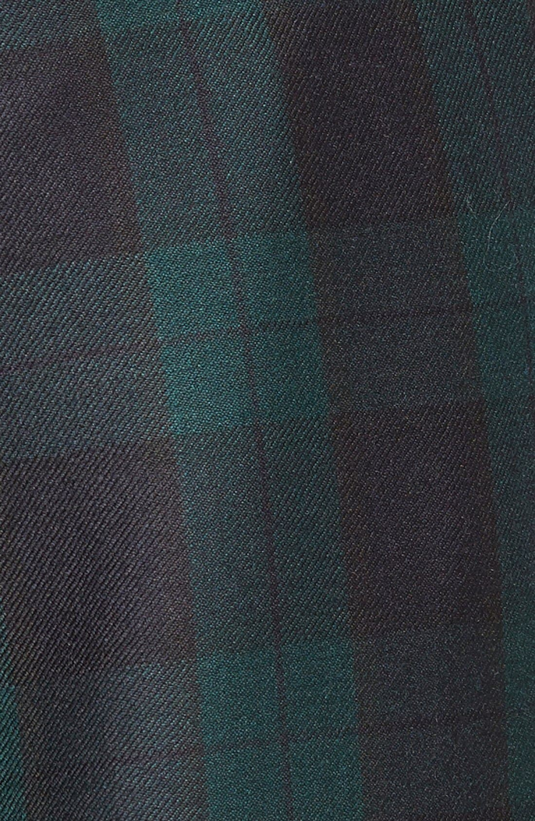 Pleated Plaid Wool Trousers,                             Alternate thumbnail 2, color,                             GREEN