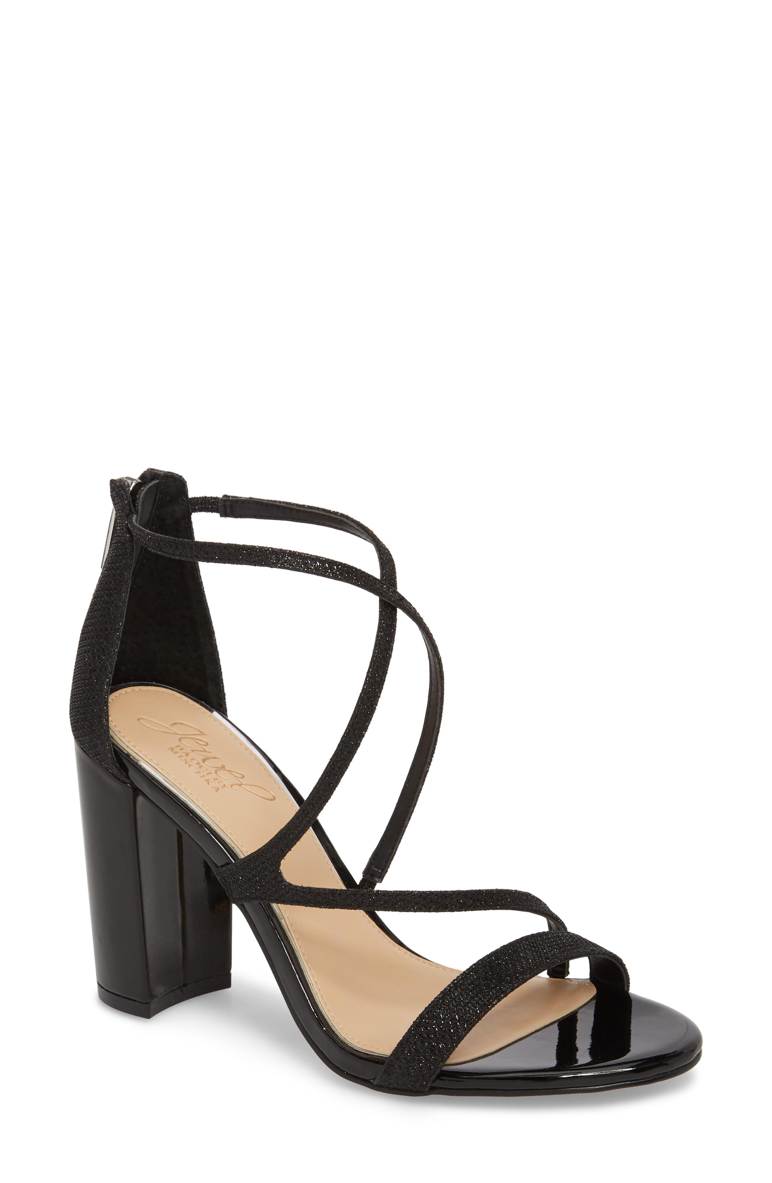 Badgley Mischka Gale Block Heel Sandal,                         Main,                         color, BLACK GLITTER FABRIC