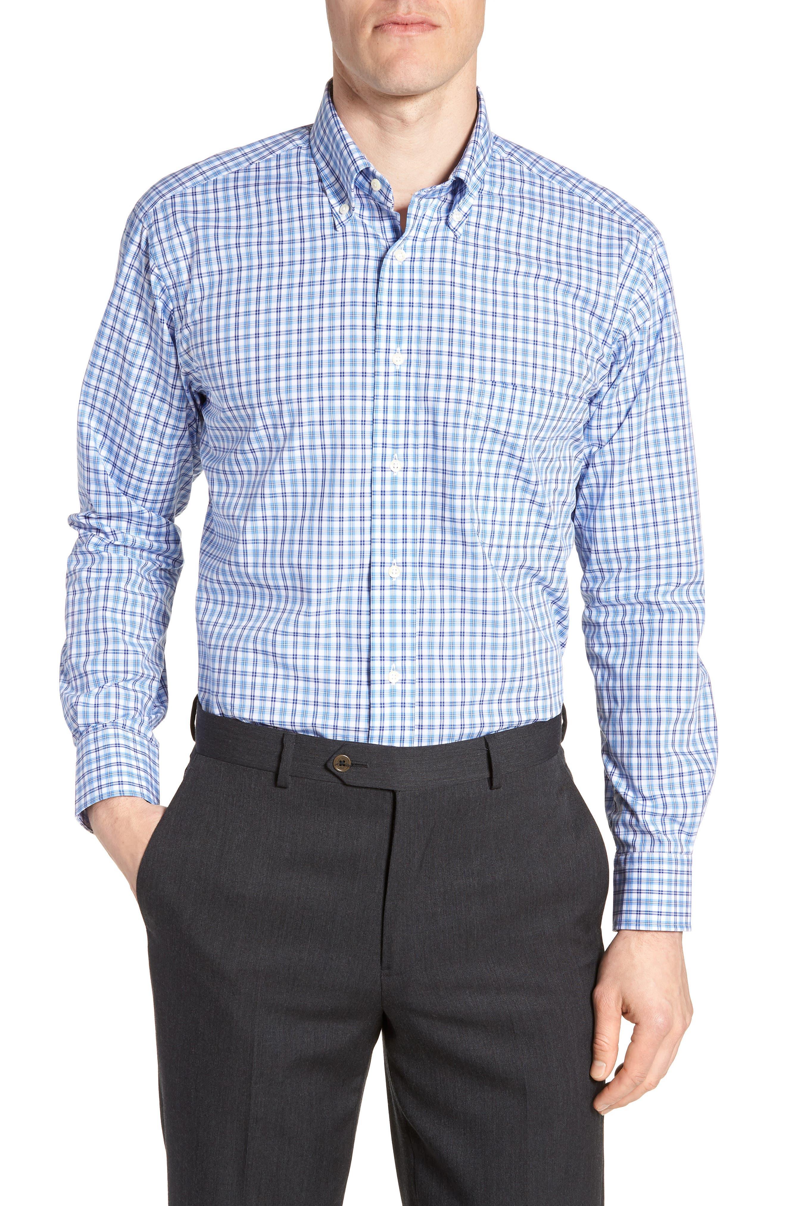 Tailored Fit Plaid Dress Shirt,                         Main,                         color, 430