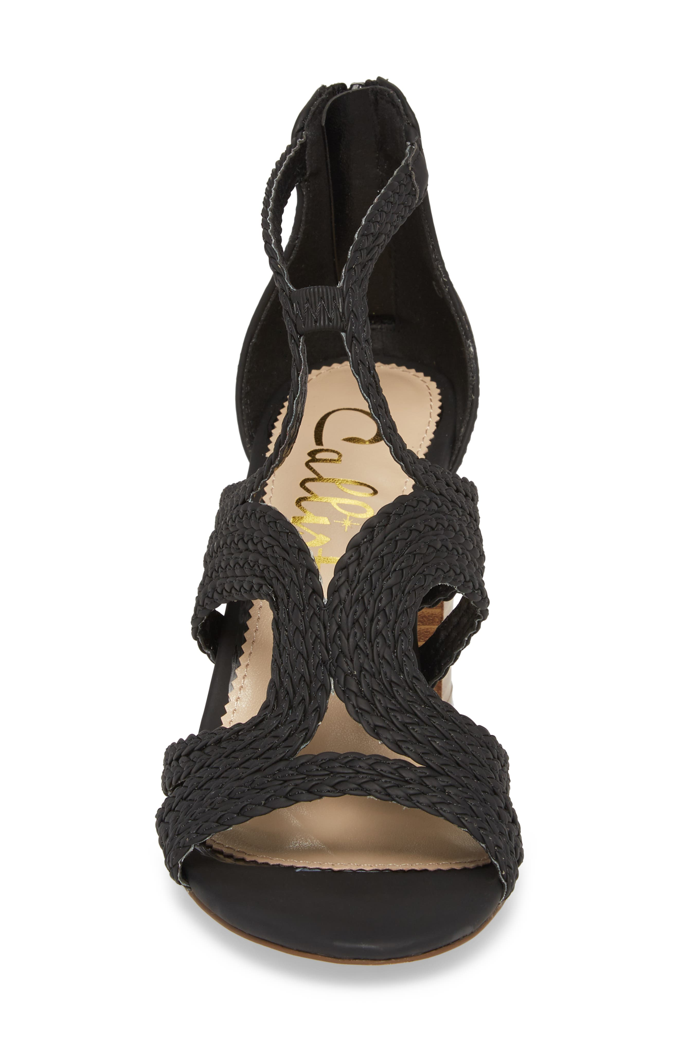 Shindig Block Heel Sandal,                             Alternate thumbnail 4, color,                             BLACK FABRIC