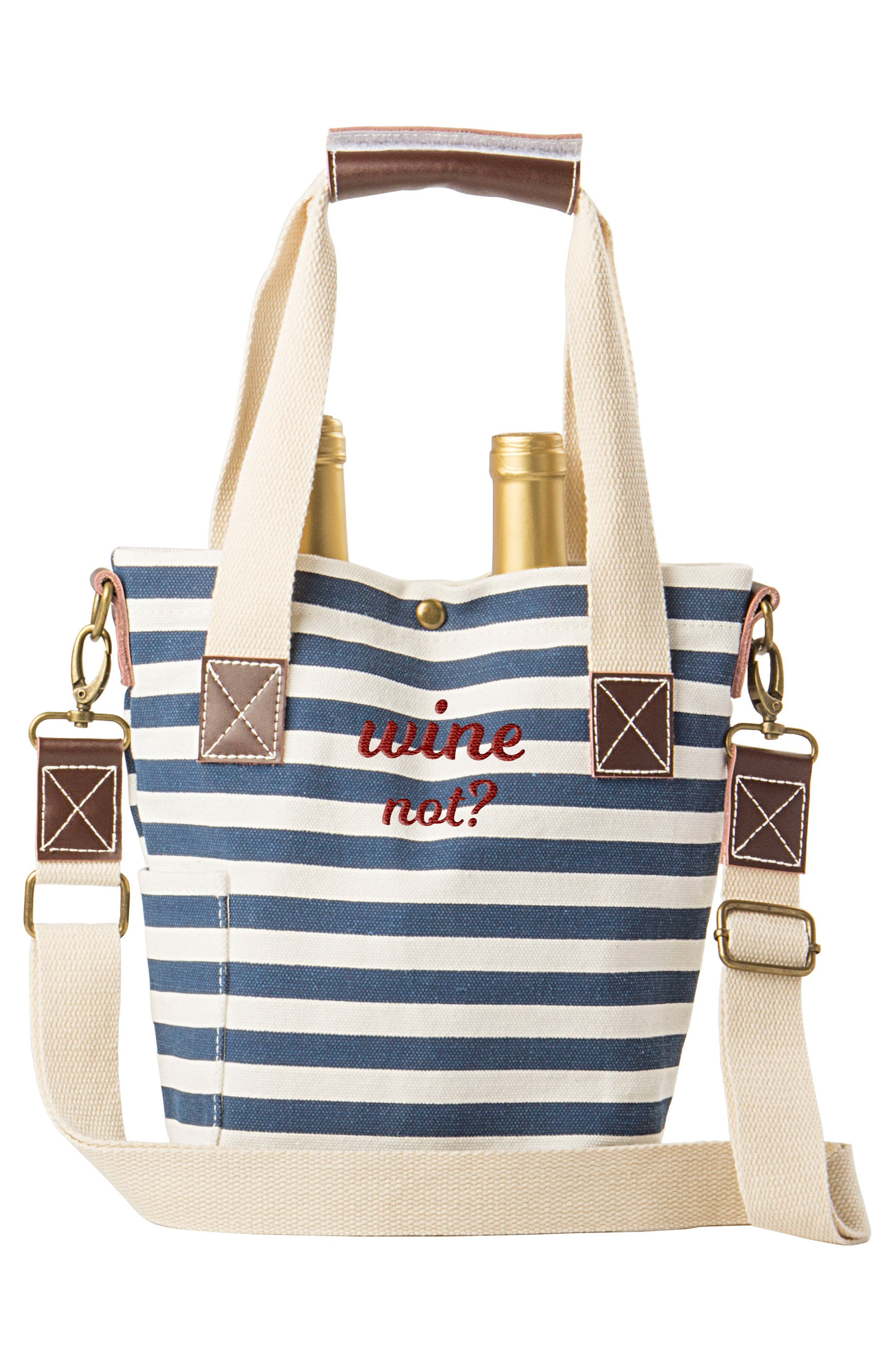 Wine Not? Stripe Wine Tote,                             Alternate thumbnail 3, color,                             400