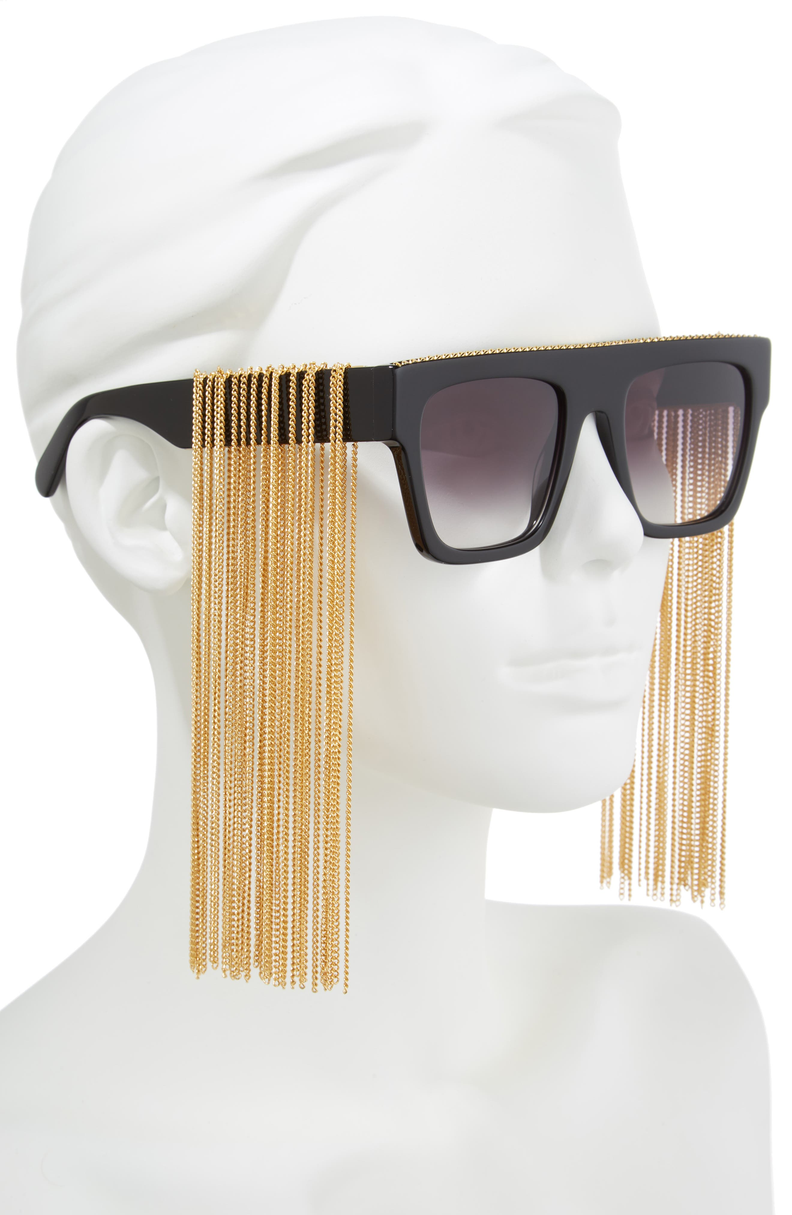 51mm Chain Fringe Square Sunglasses,                             Alternate thumbnail 2, color,                             BLACK/ GOLD