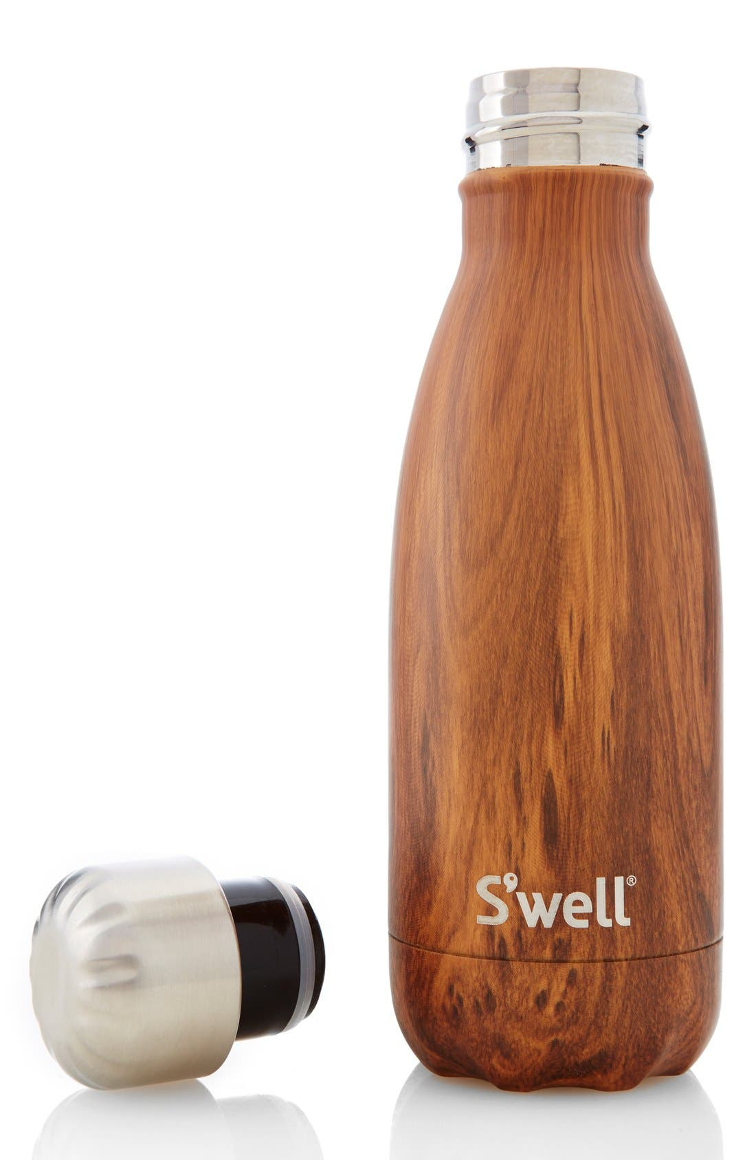 'The Wood Collection - Teakwood' Insulated Stainless Steel Water Bottle,                             Alternate thumbnail 4, color,                             TEAKWOOD