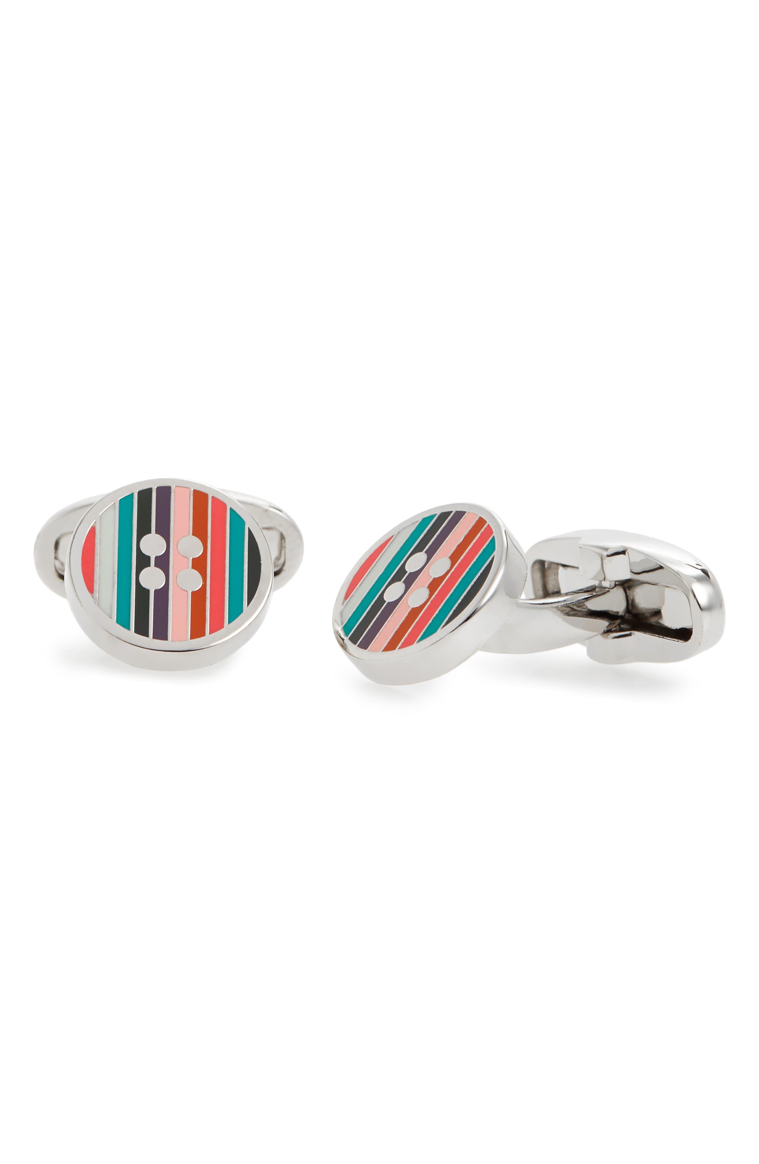 Enamel Button Cuff Links,                         Main,                         color, MULTI