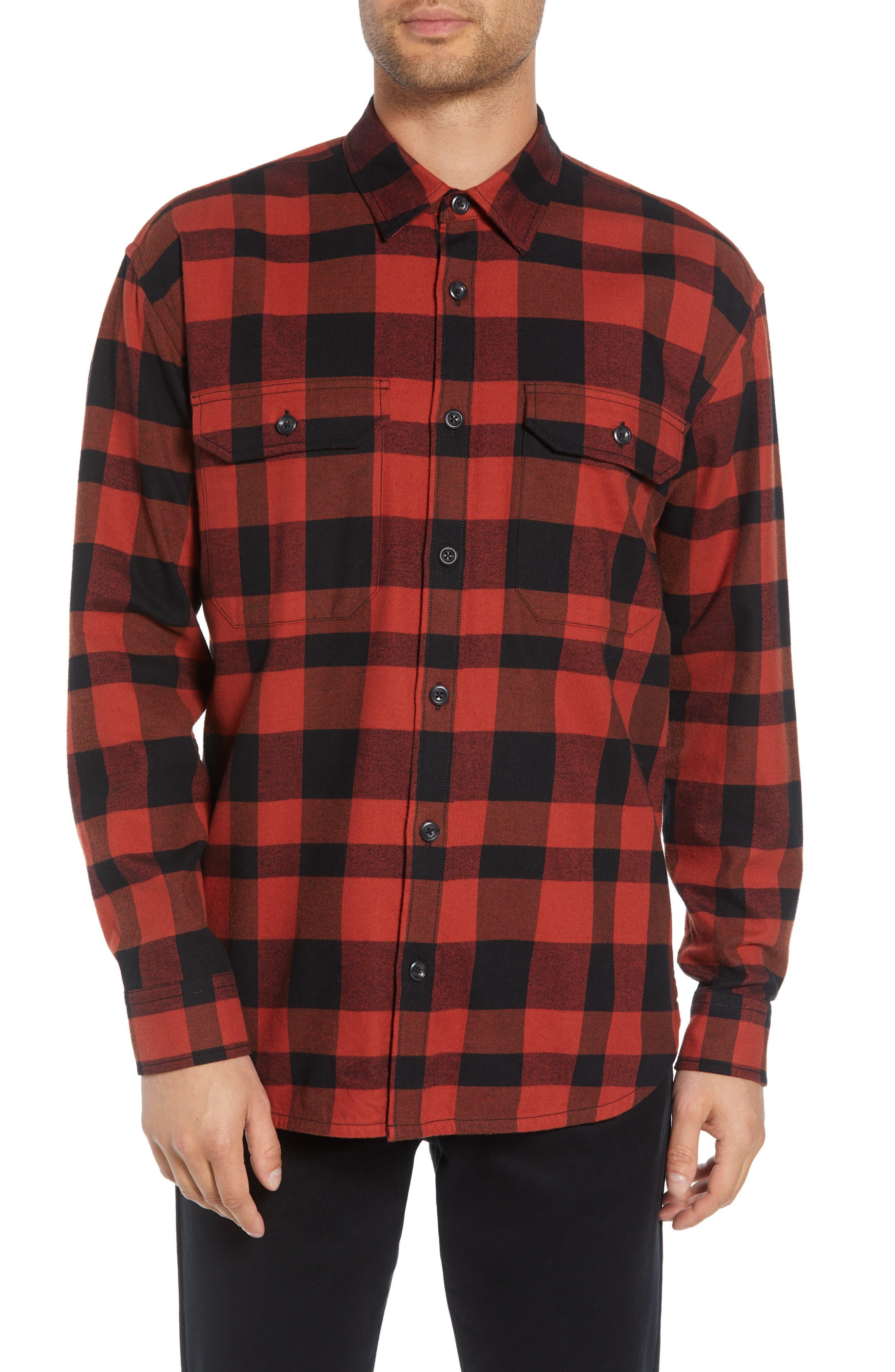 Regular Fit Buffalo Plaid Sport Shirt,                         Main,                         color, BRICK