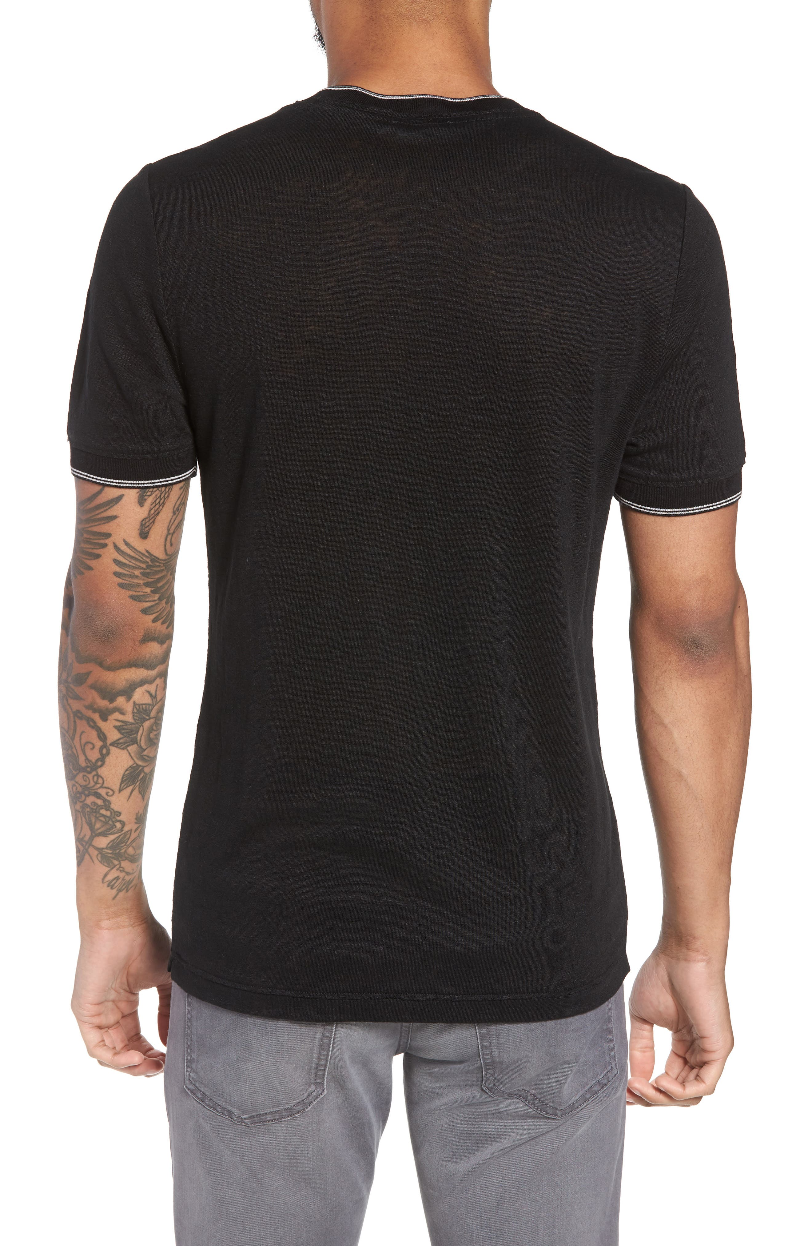 Slim Fit Tipped Linen T-Shirt,                             Alternate thumbnail 2, color,                             001