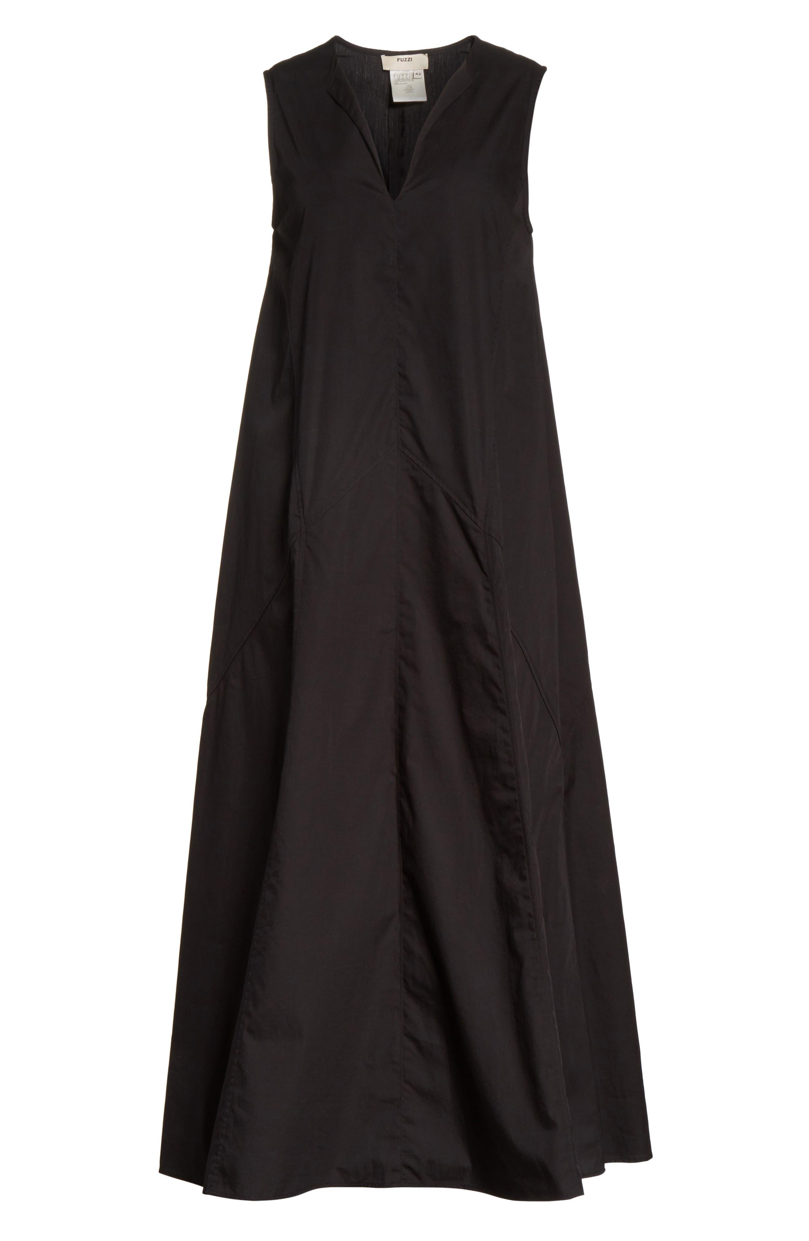 Sleeveless Poplin Shift Dress,                             Alternate thumbnail 6, color,                             001