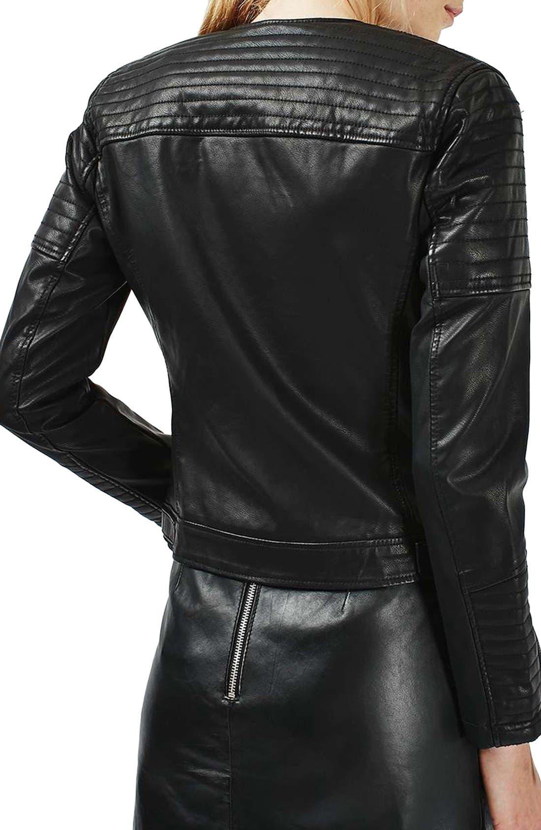 TOPSHOP,                             Nelly Faux Leather Biker Jacket,                             Alternate thumbnail 6, color,                             001