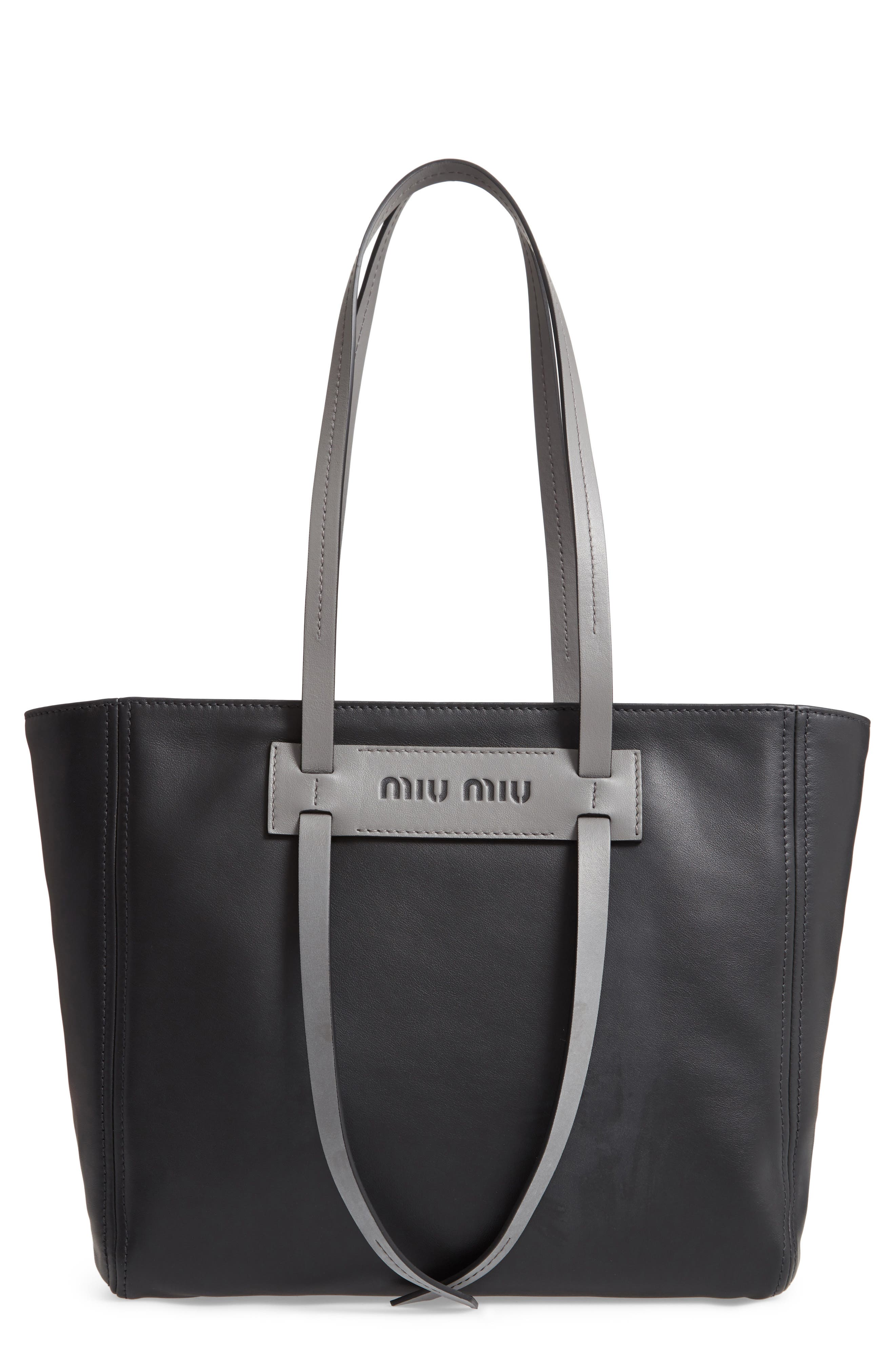 Grace Lux Calfskin Leather Tote,                             Main thumbnail 1, color,                             NERO/ MARMO
