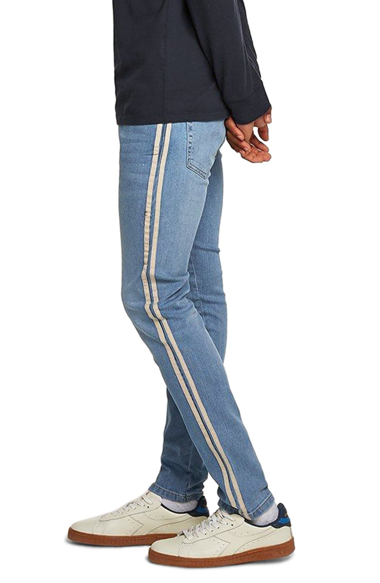 Tape Stretch Skinny Fit Jeans,                             Alternate thumbnail 3, color,                             BLUE