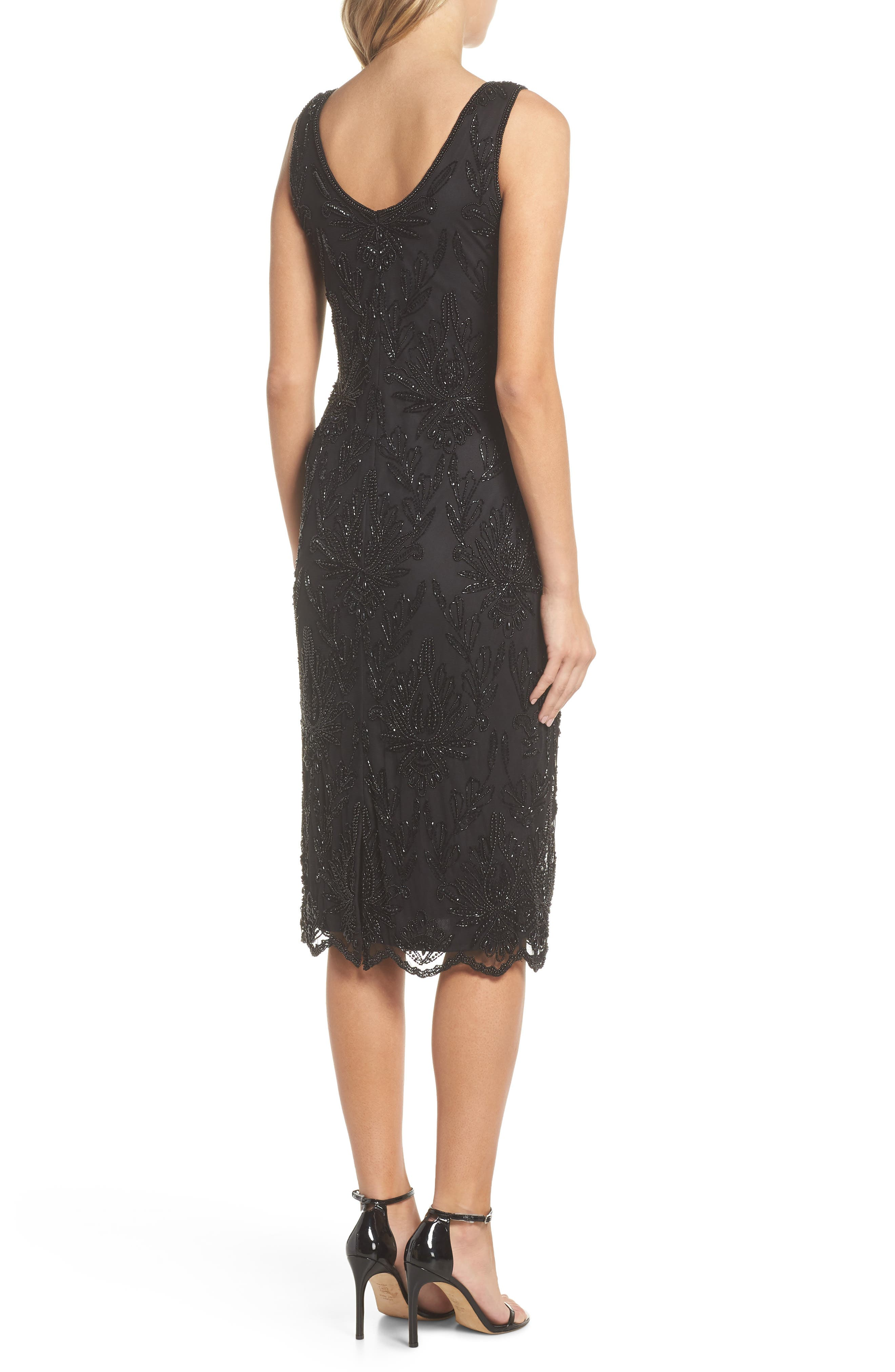 Lace Mid Dress,                             Alternate thumbnail 2, color,                             BLACK