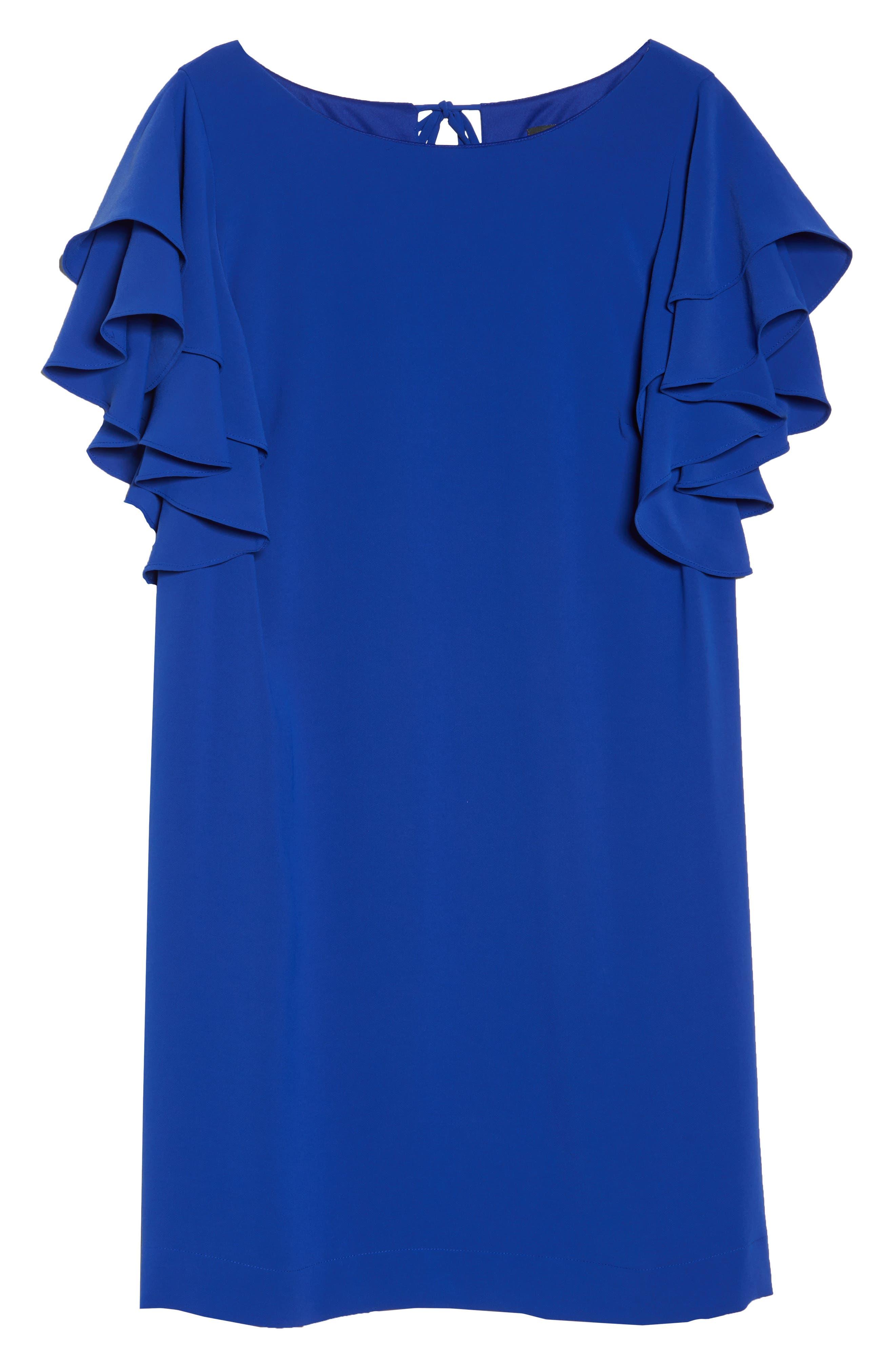 Ruffle Sleeve Crepe Shift Dress,                             Alternate thumbnail 6, color,                             492