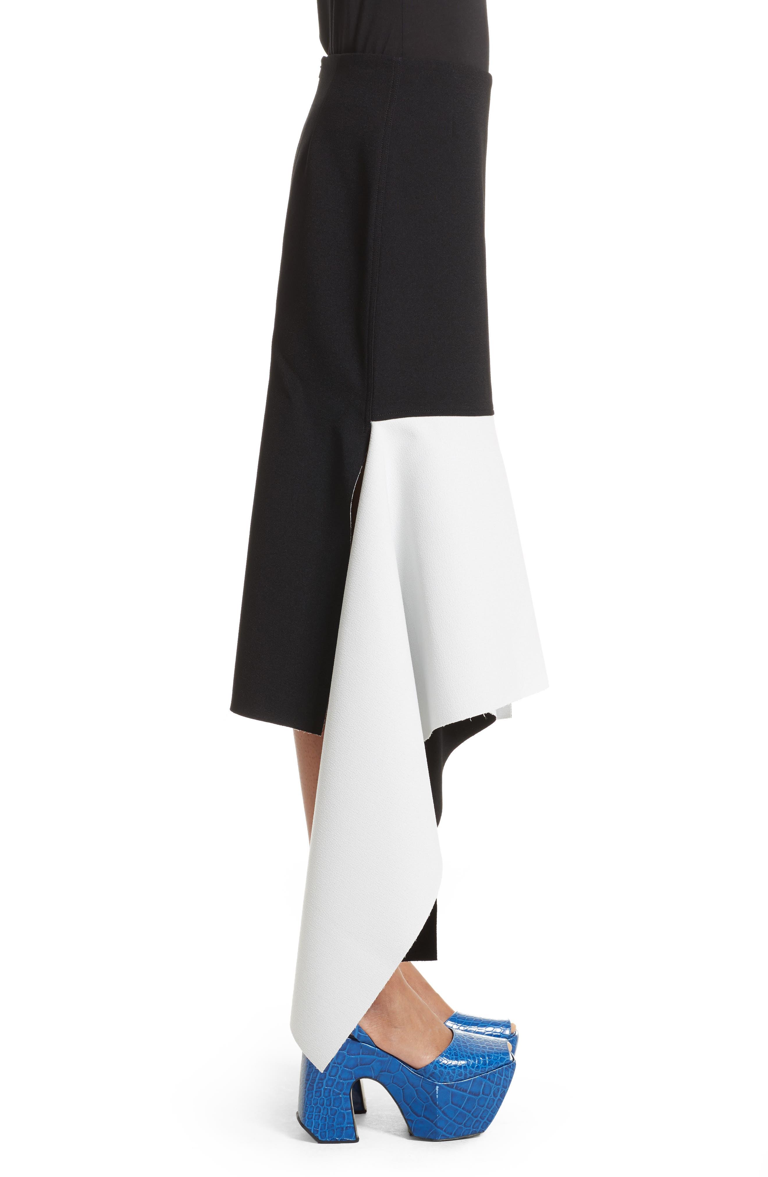 Marques'Almeida Asymmetrical Bicolor Crepe Skirt,                             Alternate thumbnail 3, color,                             003