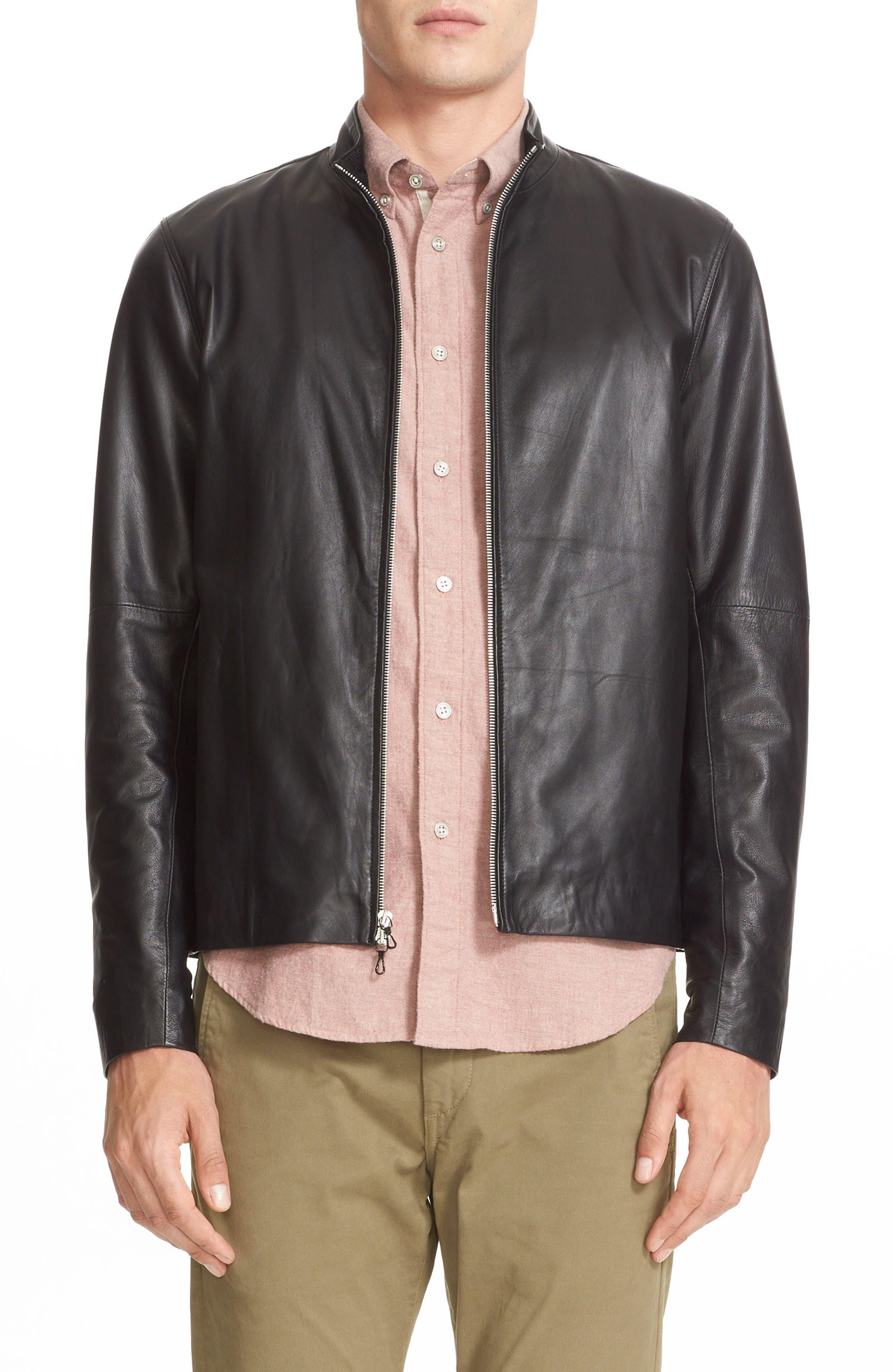 Agnes Lambskin Leather Jacket,                             Main thumbnail 1, color,                             BLACK