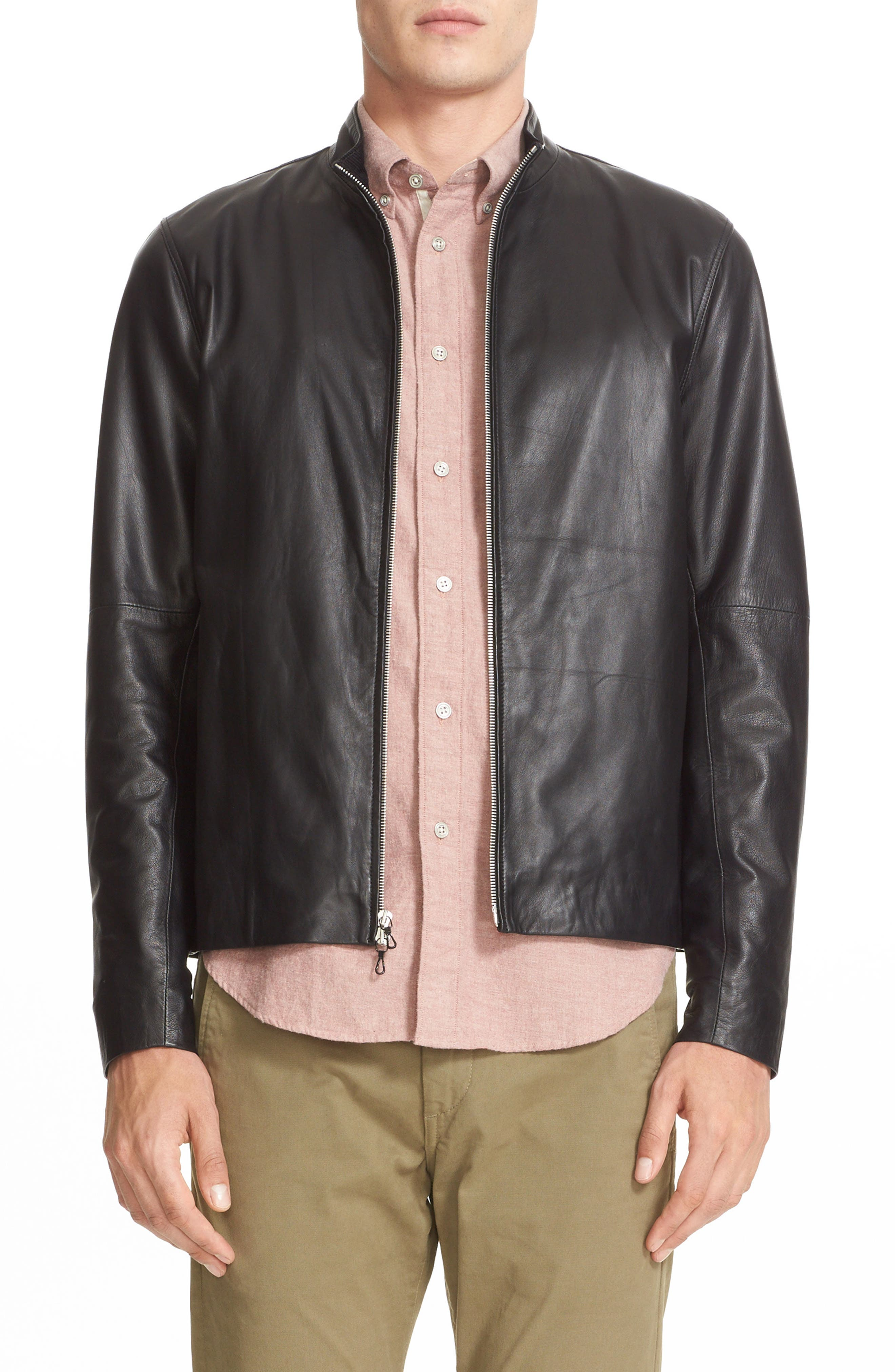 Agnes Lambskin Leather Jacket,                         Main,                         color, BLACK