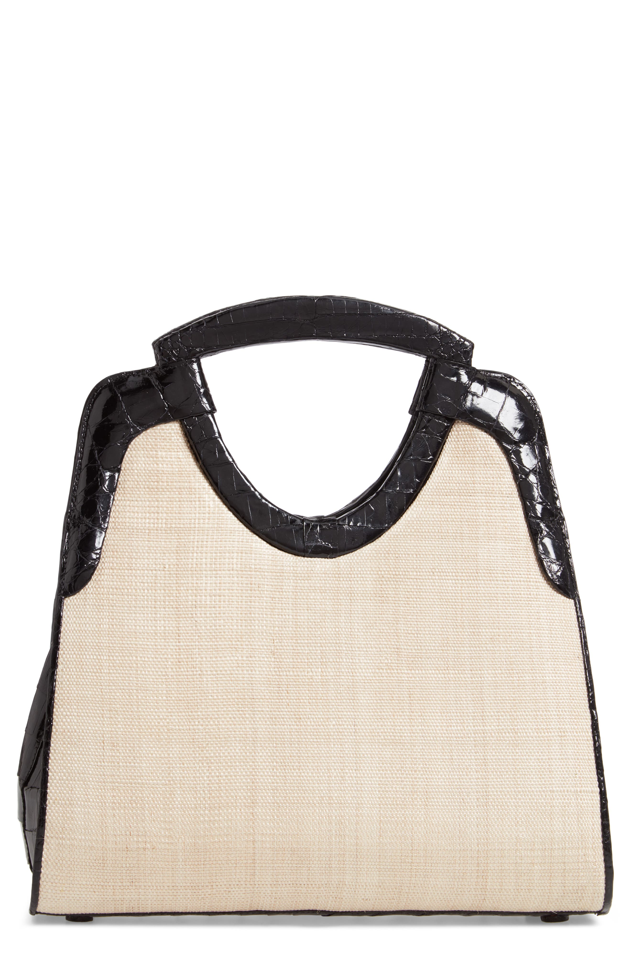 Small Genuine Crocodile Top Handle Bag,                             Main thumbnail 1, color,                             BLACK/ STRAW