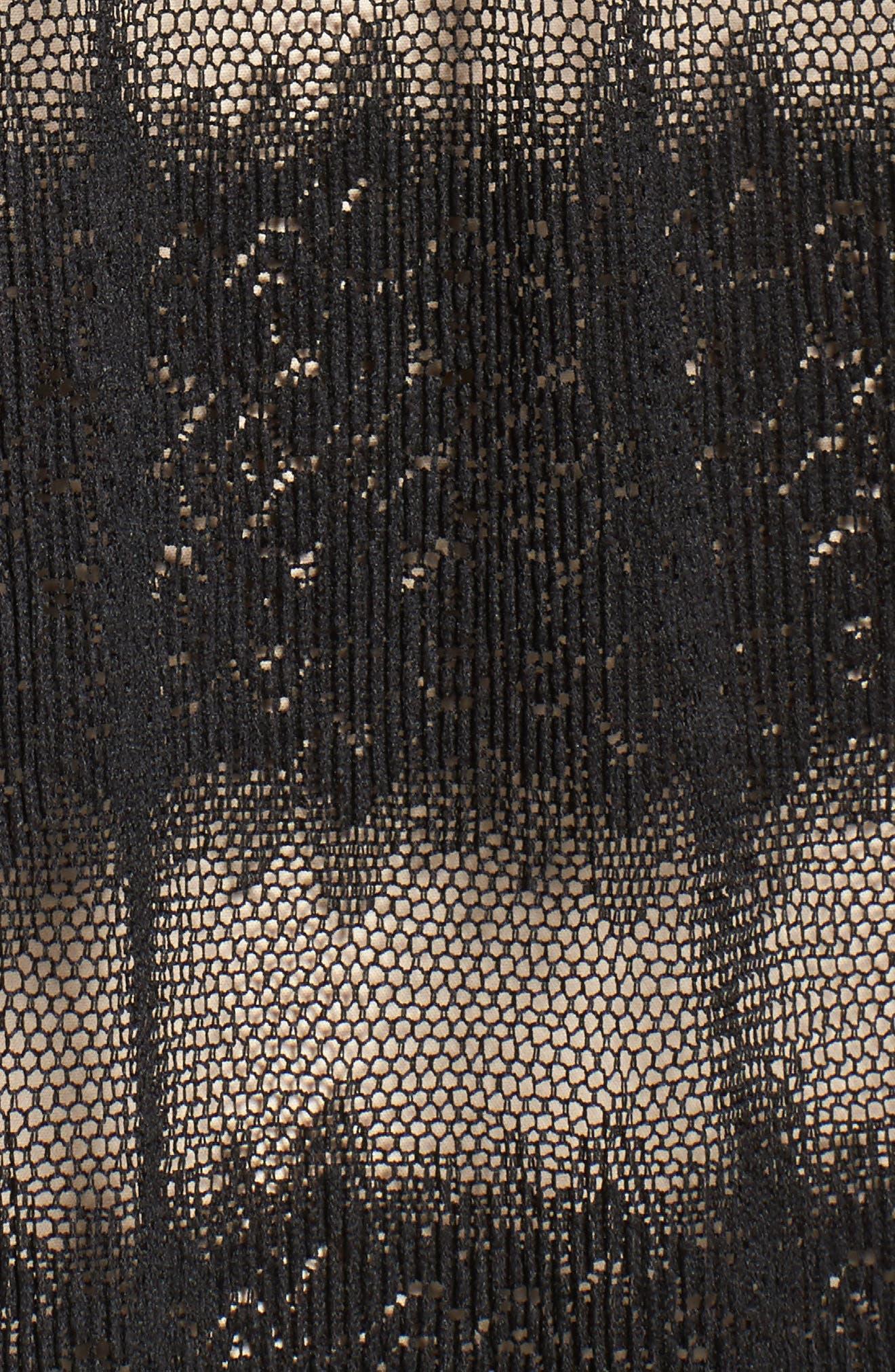 Angelique Deep V-Neck Lace Dress,                             Alternate thumbnail 5, color,                             001