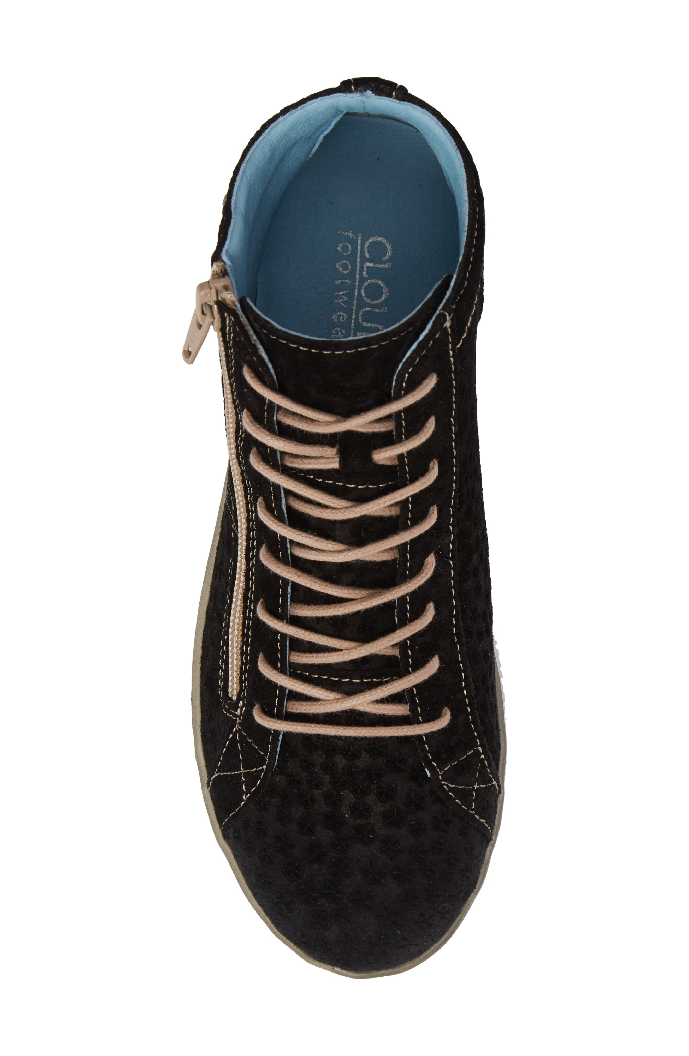 Aika Star Perforated High Top Sneaker,                             Alternate thumbnail 5, color,                             BLACK LEATHER