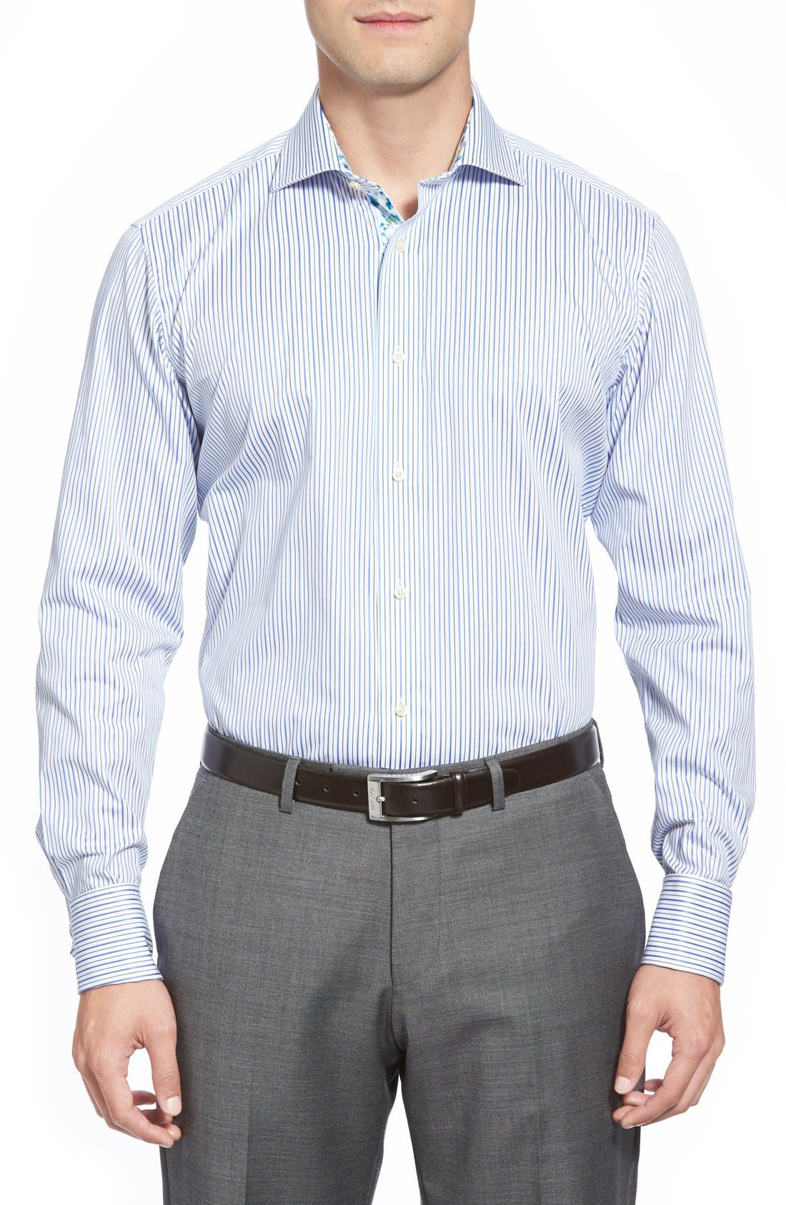 'Takeley' Trim Fit Stripe French Cuff Dress Shirt,                             Alternate thumbnail 2, color,                             421