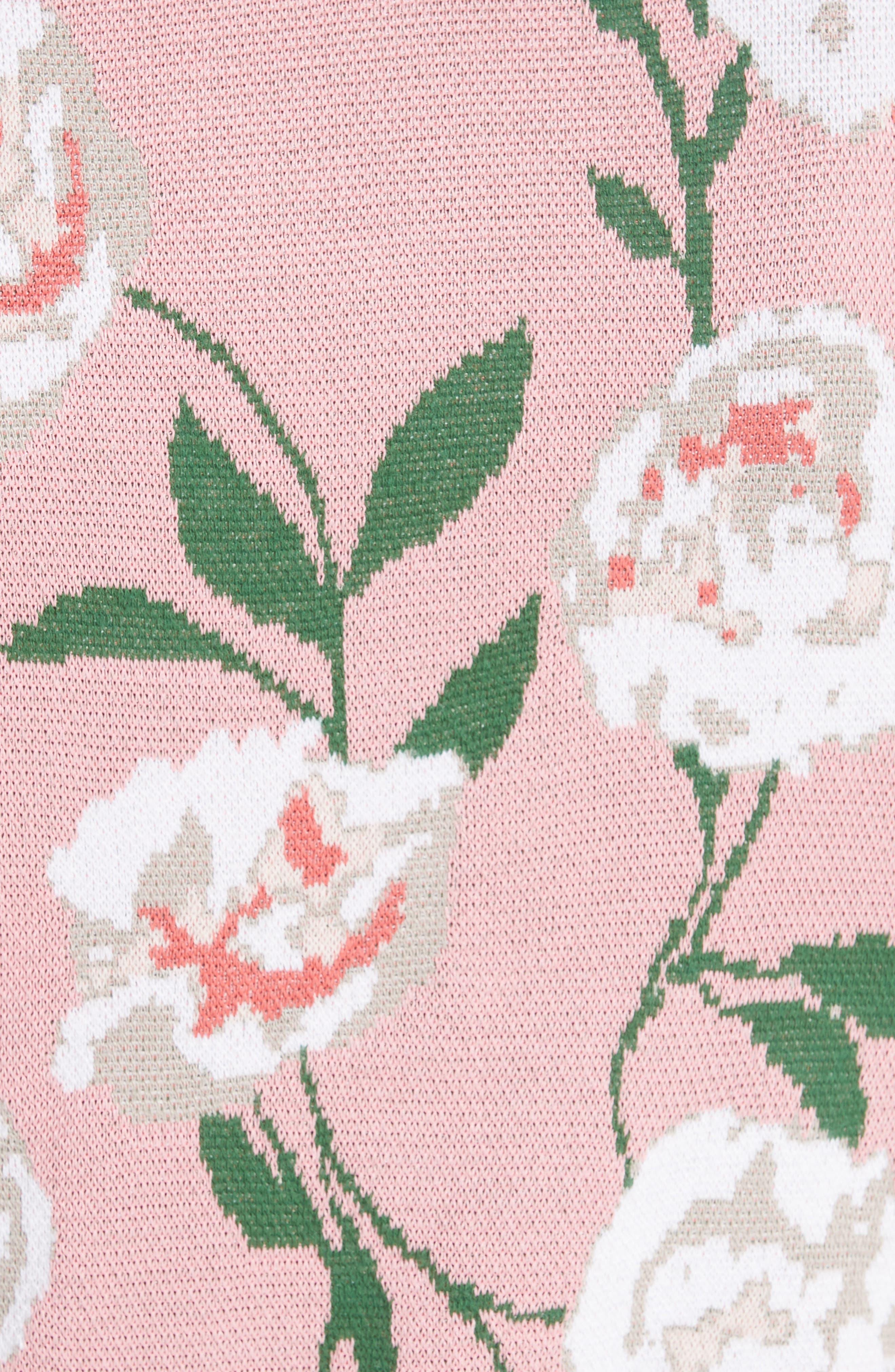 Brandy Floral Puff Crop Sweater,                             Alternate thumbnail 5, color,                             PEONY GARDEN WALL/ BUBBLEGUM