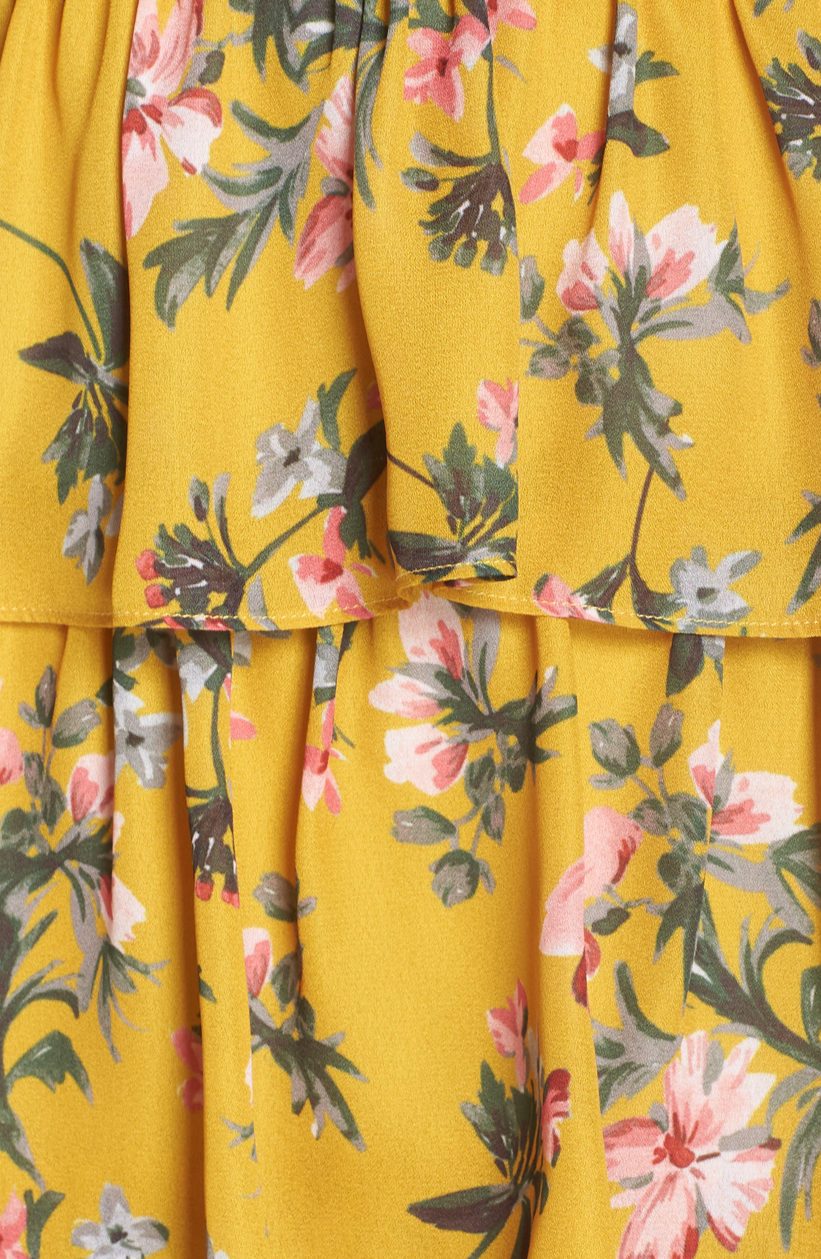 Floral Ruffle Dress,                             Alternate thumbnail 6, color,                             MARIGOLD MULTI