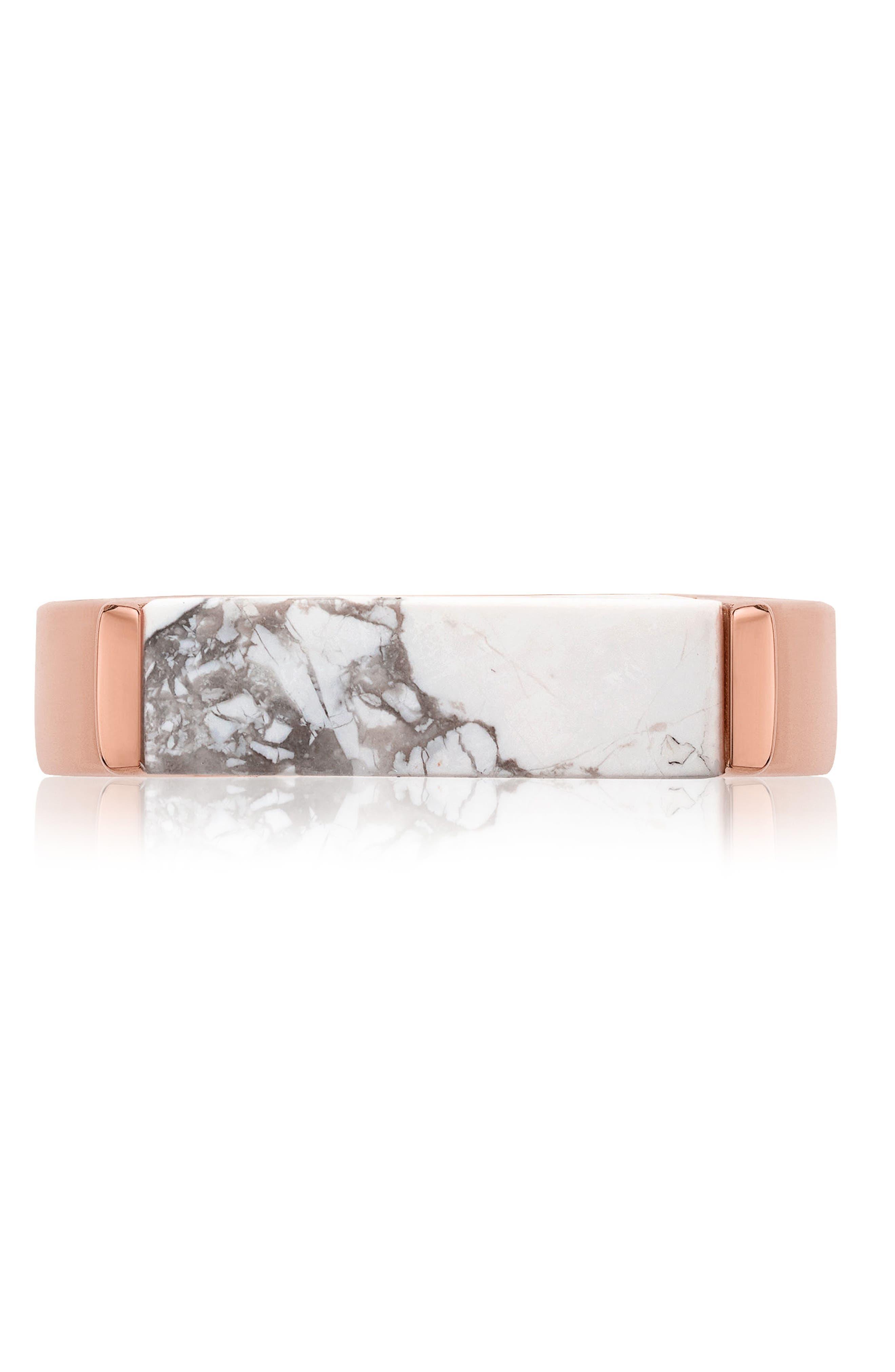 Engravable Linear Stone Ring,                             Alternate thumbnail 3, color,                             ROSE GOLD/ HOWLITE