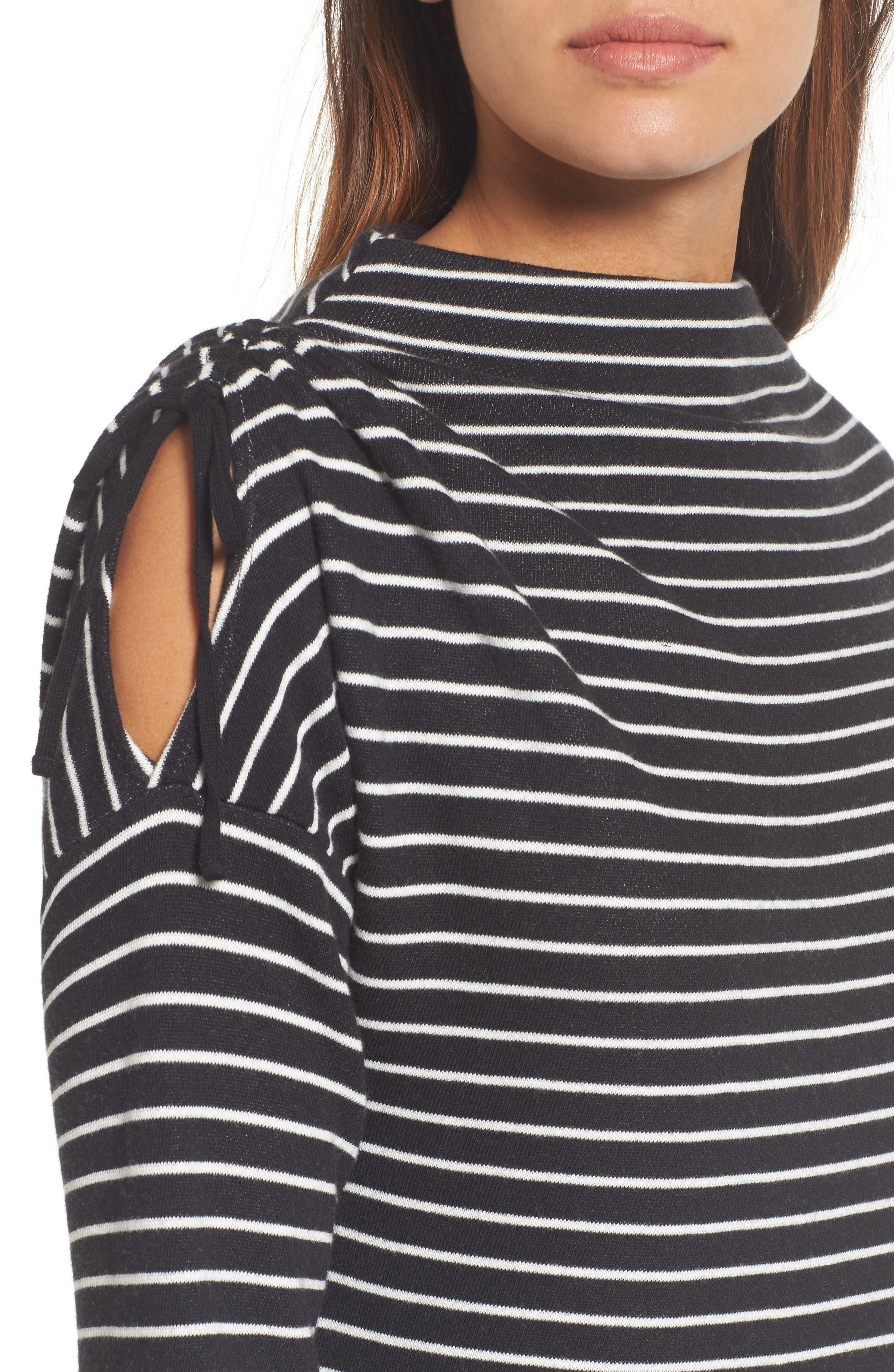 Open Shoulder Sweatshirt Tunic,                             Alternate thumbnail 4, color,                             001