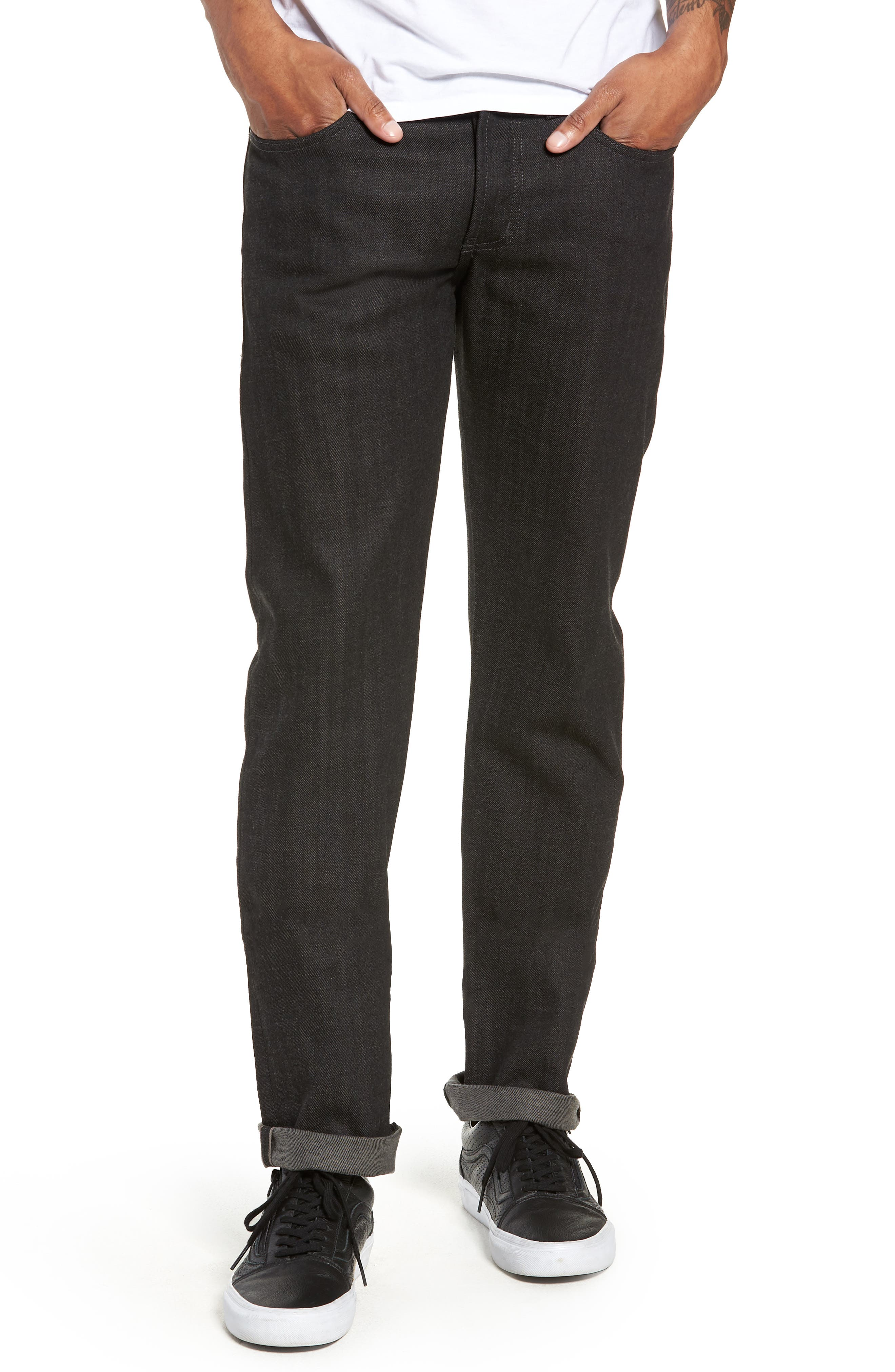 Weird Guy Slim Fit Jeans,                             Main thumbnail 1, color,                             BLACK X GREY STRETCH SELVEDGE