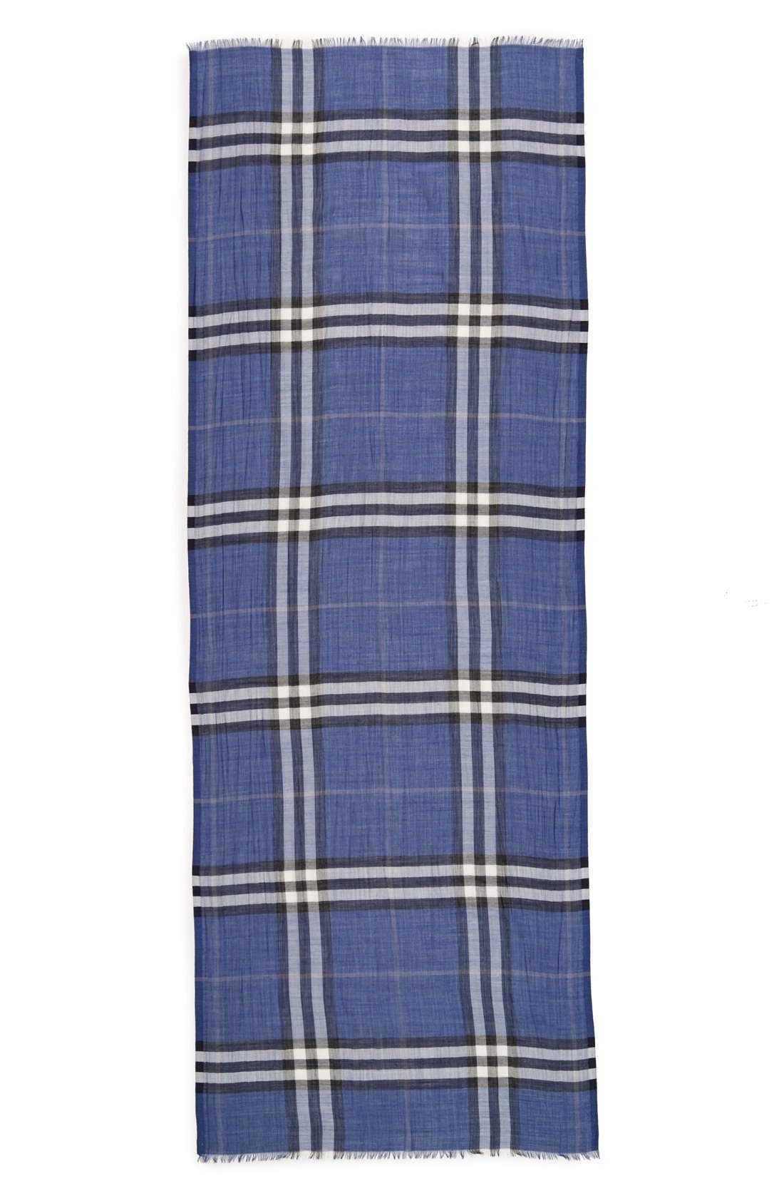 Giant Check Print Wool & Silk Scarf,                             Alternate thumbnail 130, color,