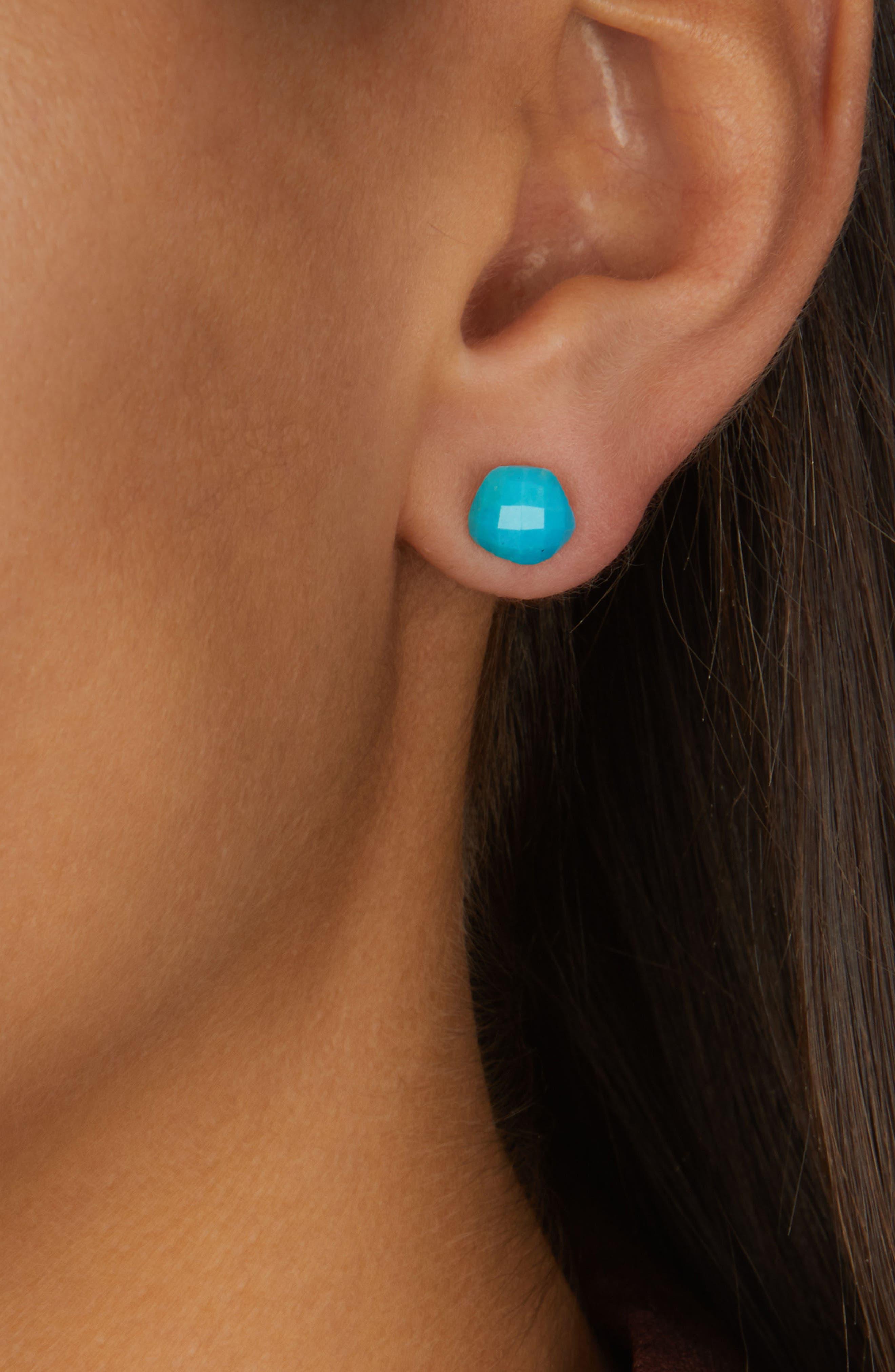 Nura Nugget Stud Earrings,                             Alternate thumbnail 2, color,                             TURQUOISE