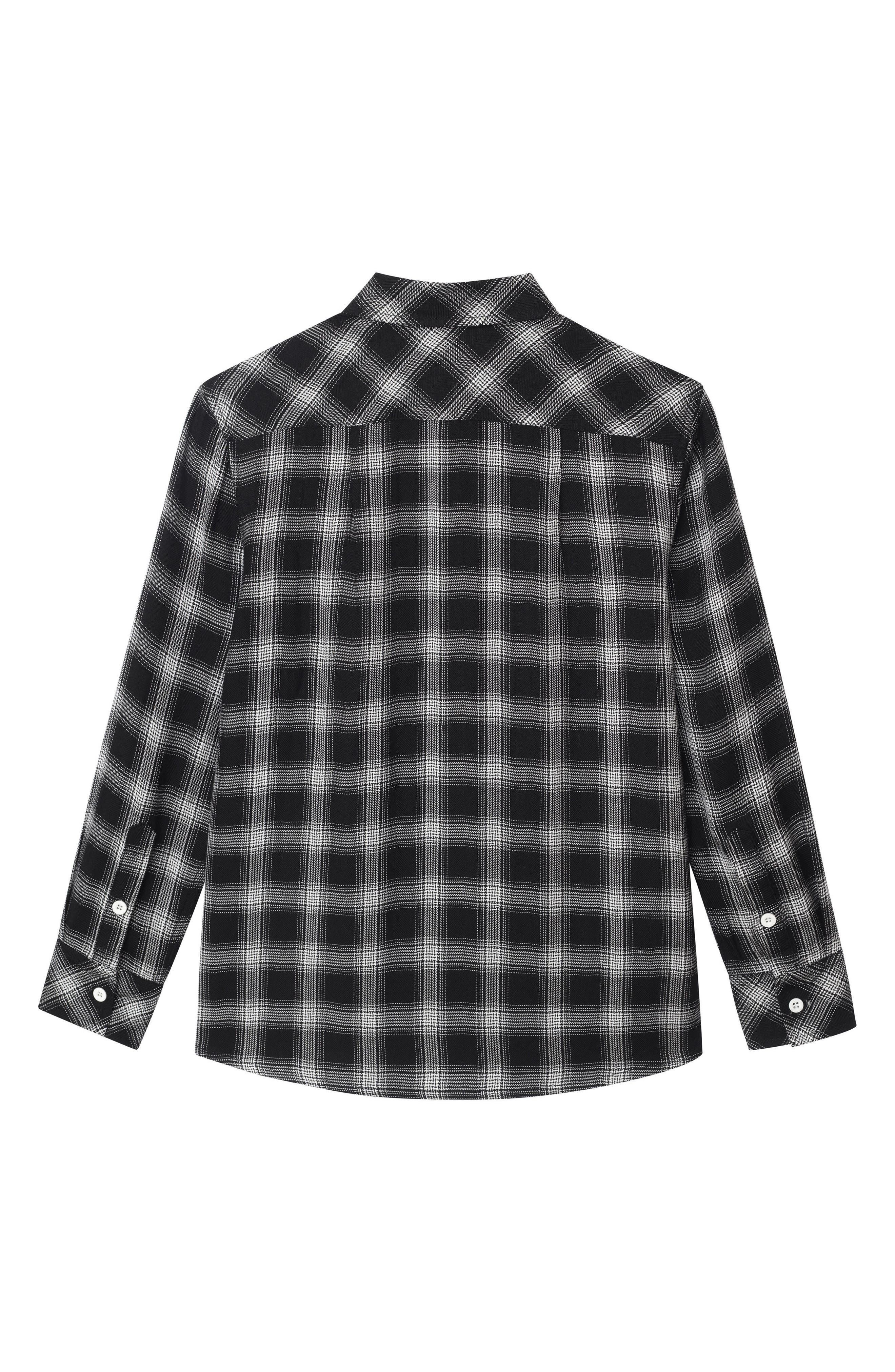 Ash Plaid Woven Shirt,                         Main,                         color, BLACK PLAID
