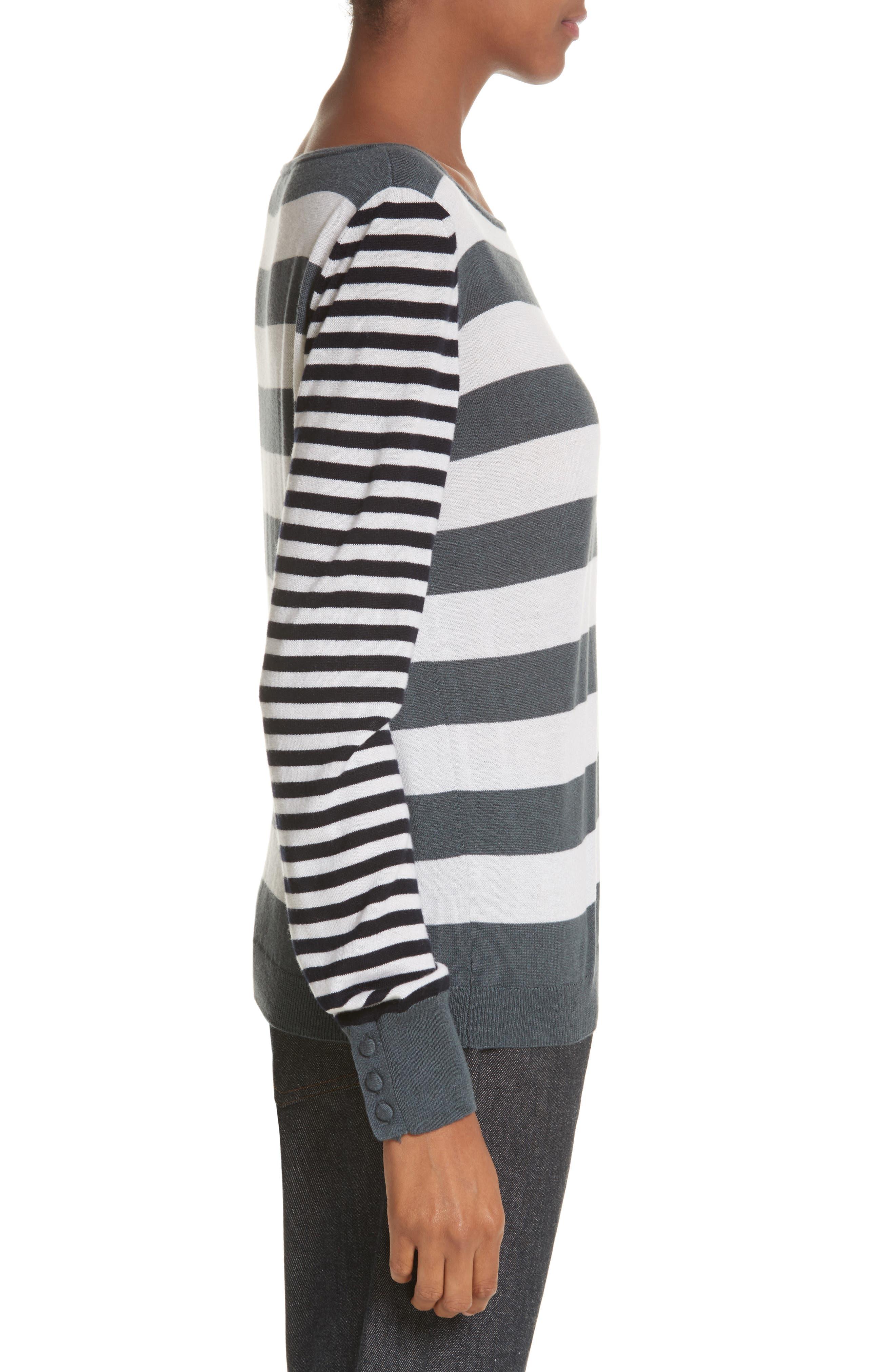 Marica Stripe Silk & Cashmere Sweater,                             Alternate thumbnail 3, color,                             054