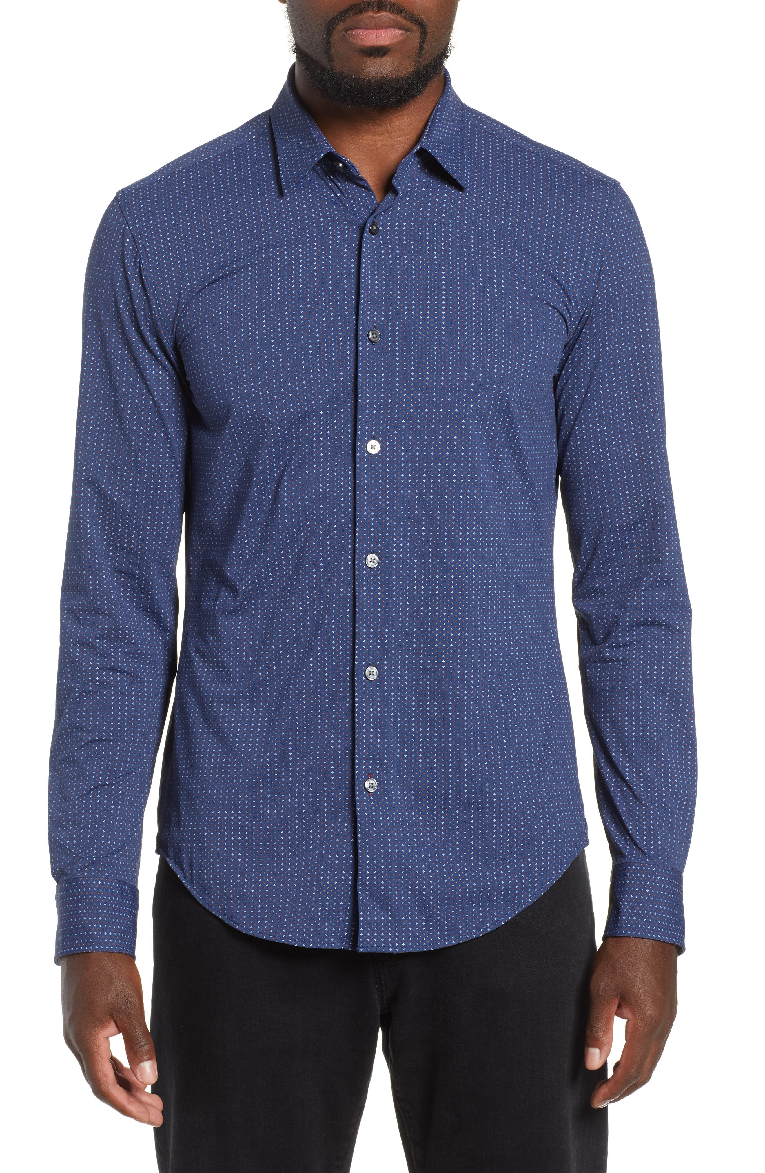 Ronni Slim Fit Stretch Sport Shirt,                             Main thumbnail 1, color,                             BLUE