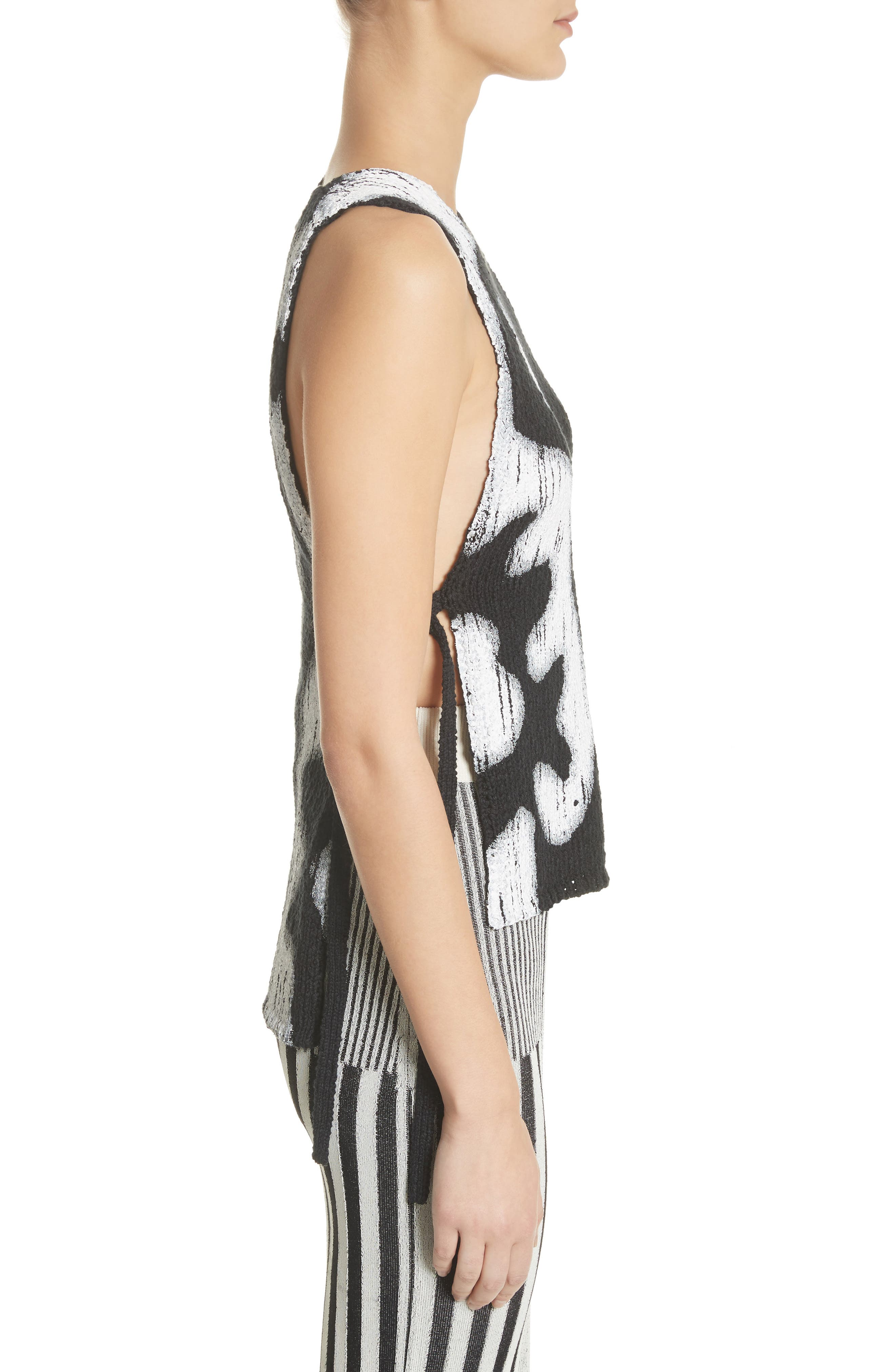 Painted Side Tie Tank Top,                             Alternate thumbnail 3, color,                             001