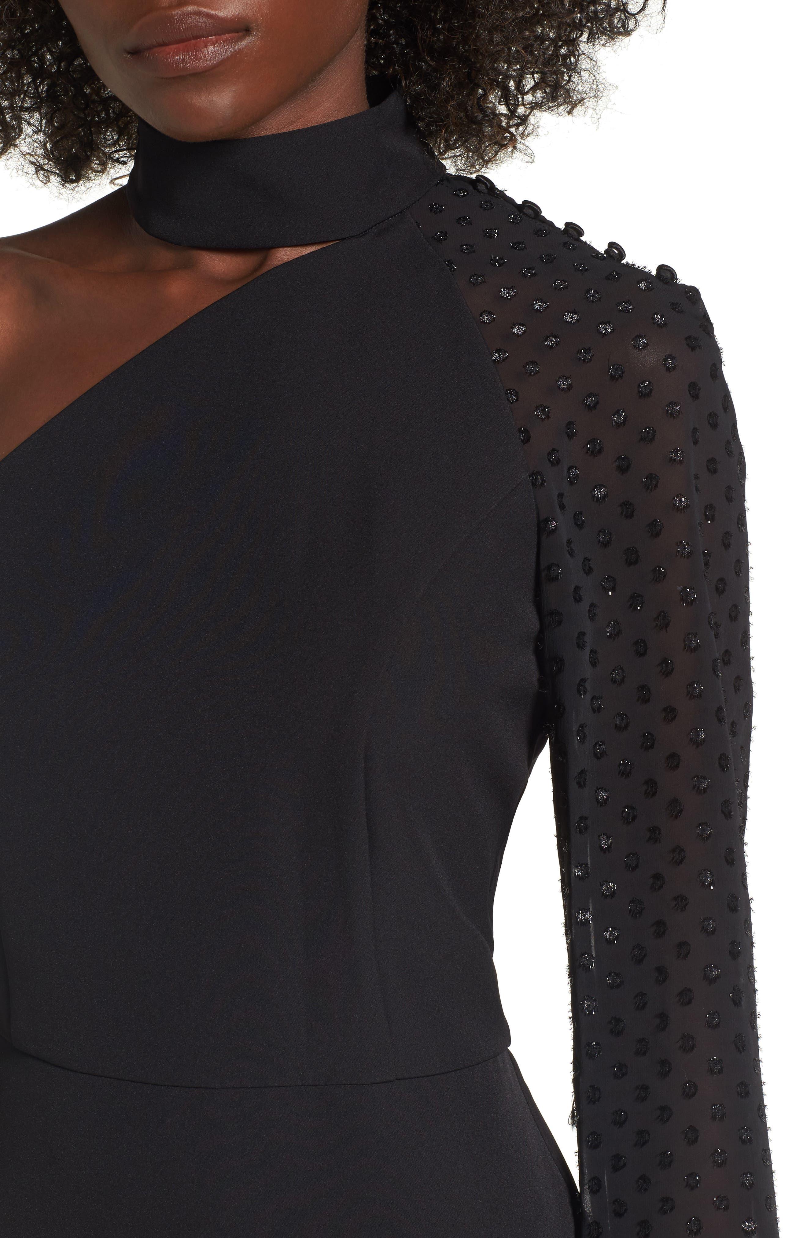 Layne One-Shoulder Dress,                             Alternate thumbnail 4, color,                             001