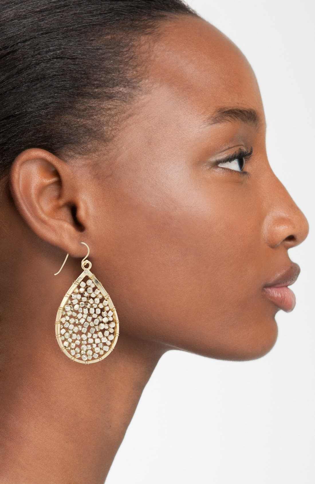 Beaded Teardrop Earrings,                             Alternate thumbnail 2, color,