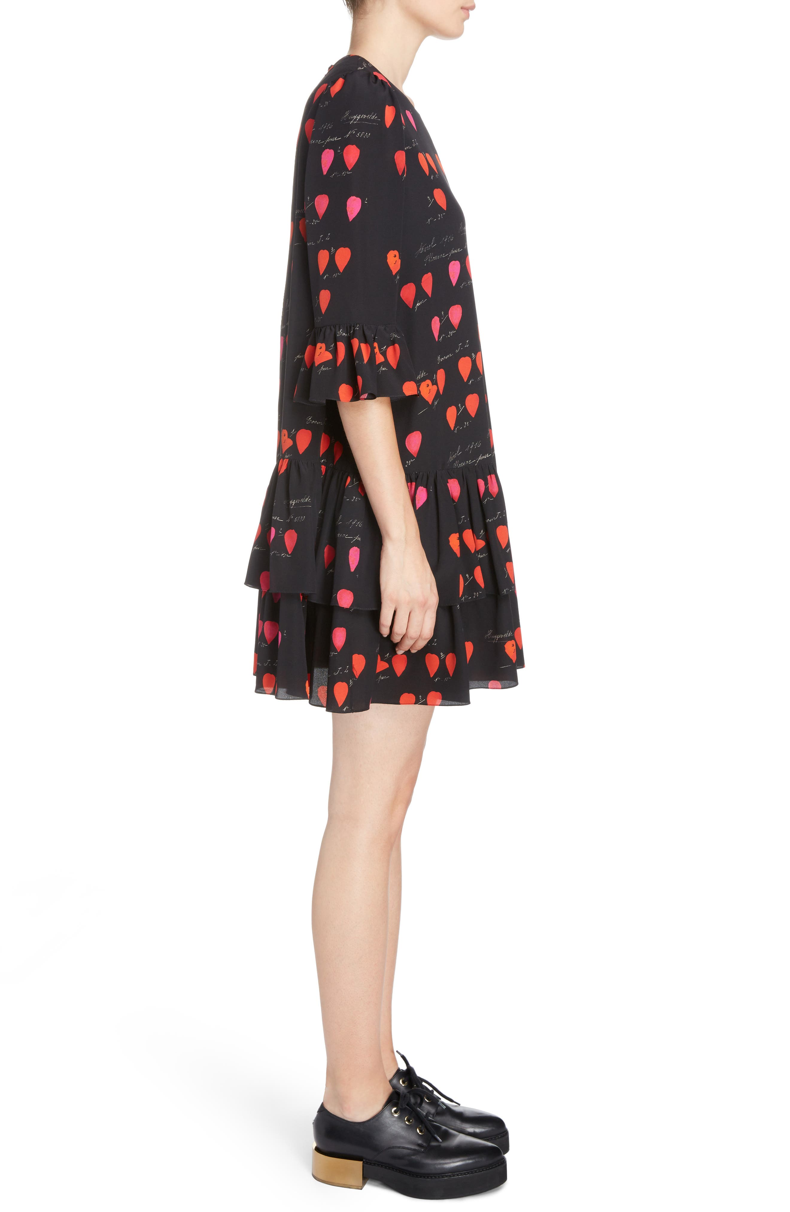 Petal Print Silk Ruffle Dress,                             Alternate thumbnail 3, color,                             007