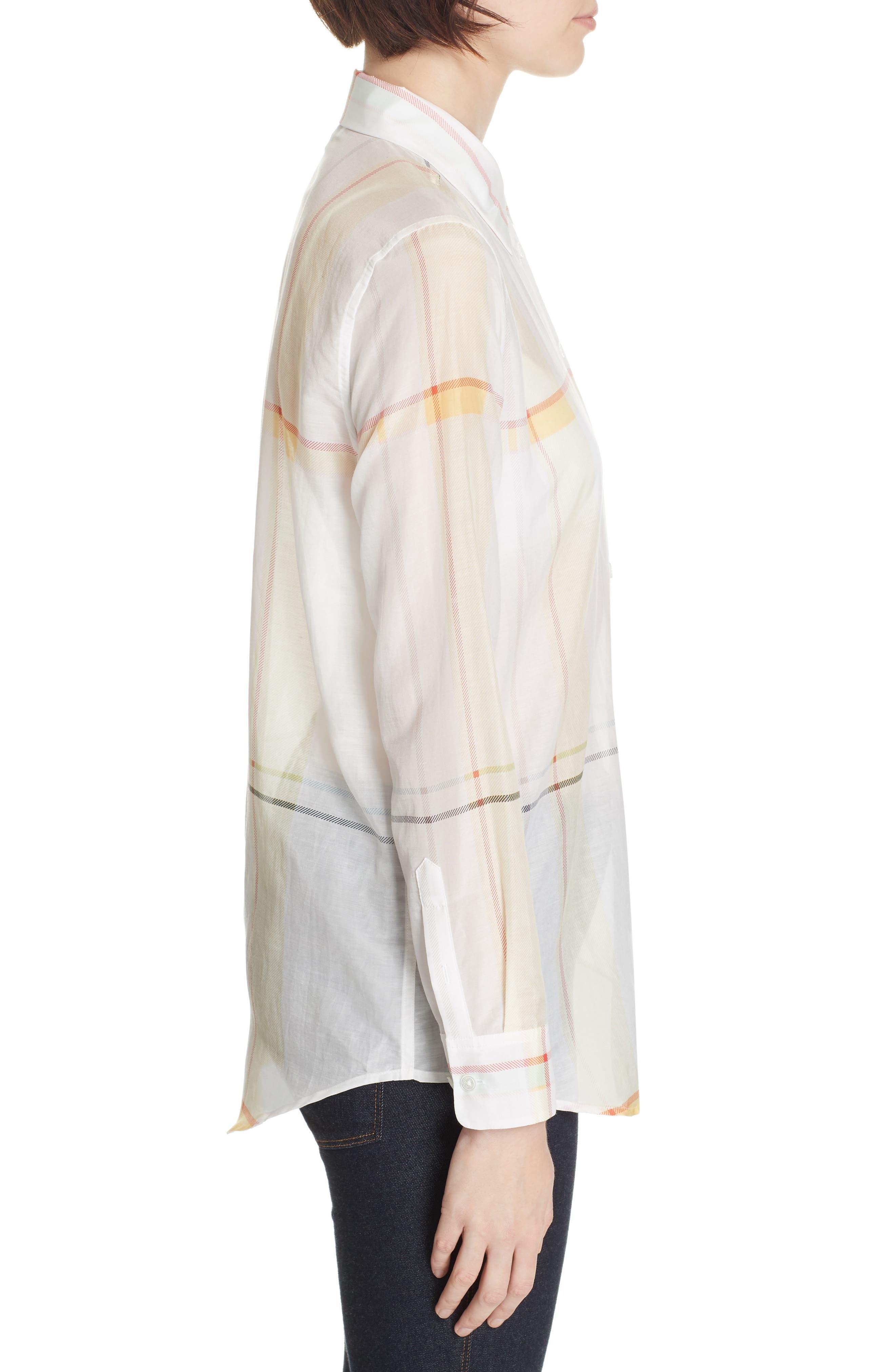 Essential Plaid Cotton & Silk Shirt,                             Alternate thumbnail 3, color,                             NATURE WHITE MULTI