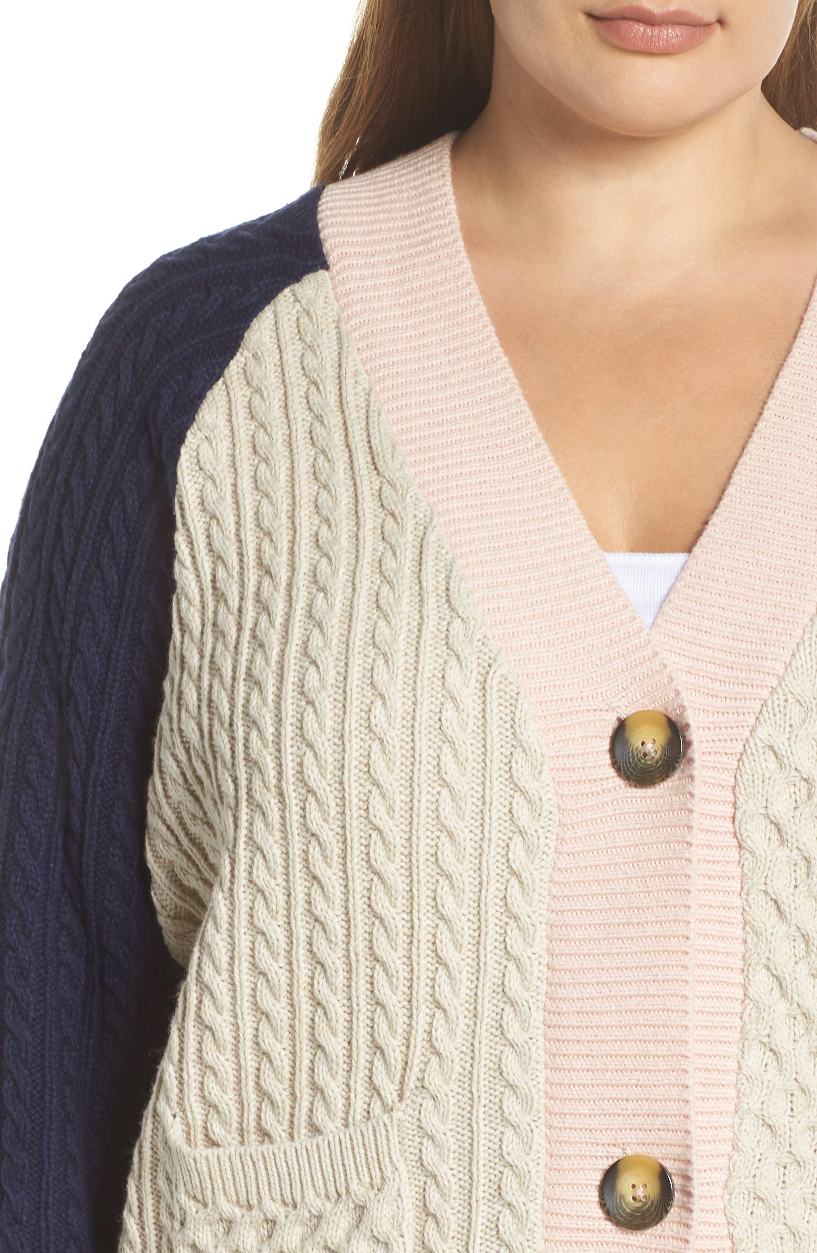 Colorblock Cable Knit Button Cardigan,                             Alternate thumbnail 4, color,                             900