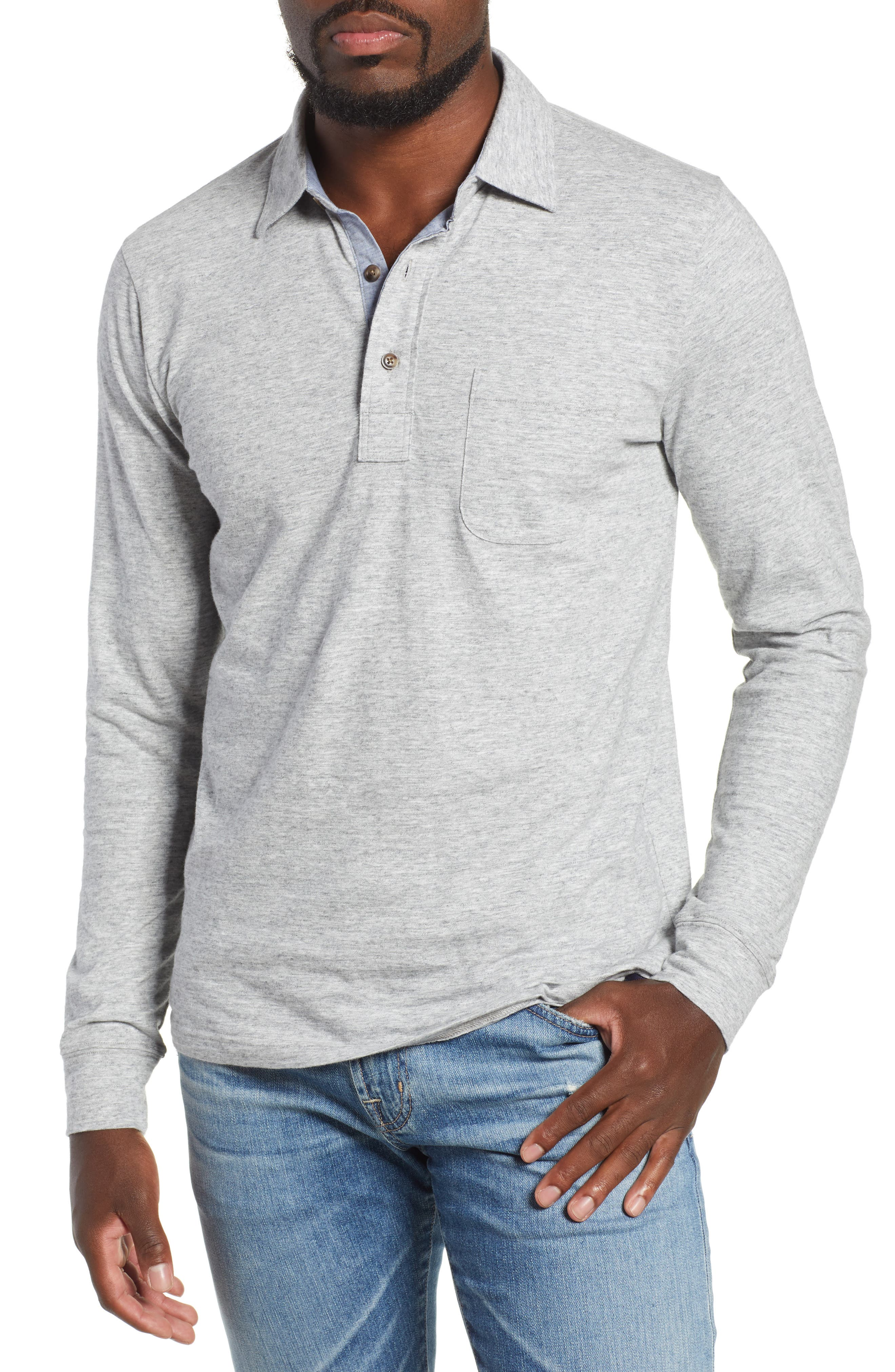 Luxe Heather Long Sleeve Polo,                         Main,                         color, ATHLETIC GREY