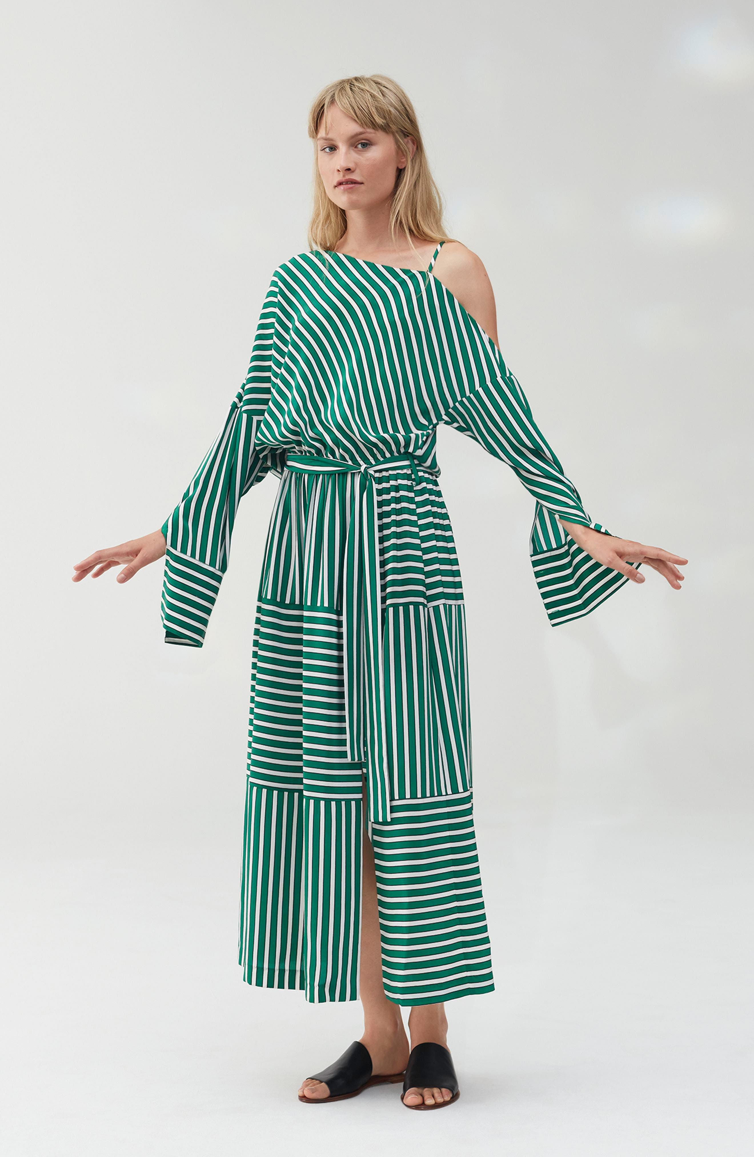Stripe Silk Cold Shoulder Dress,                             Alternate thumbnail 8, color,                             300