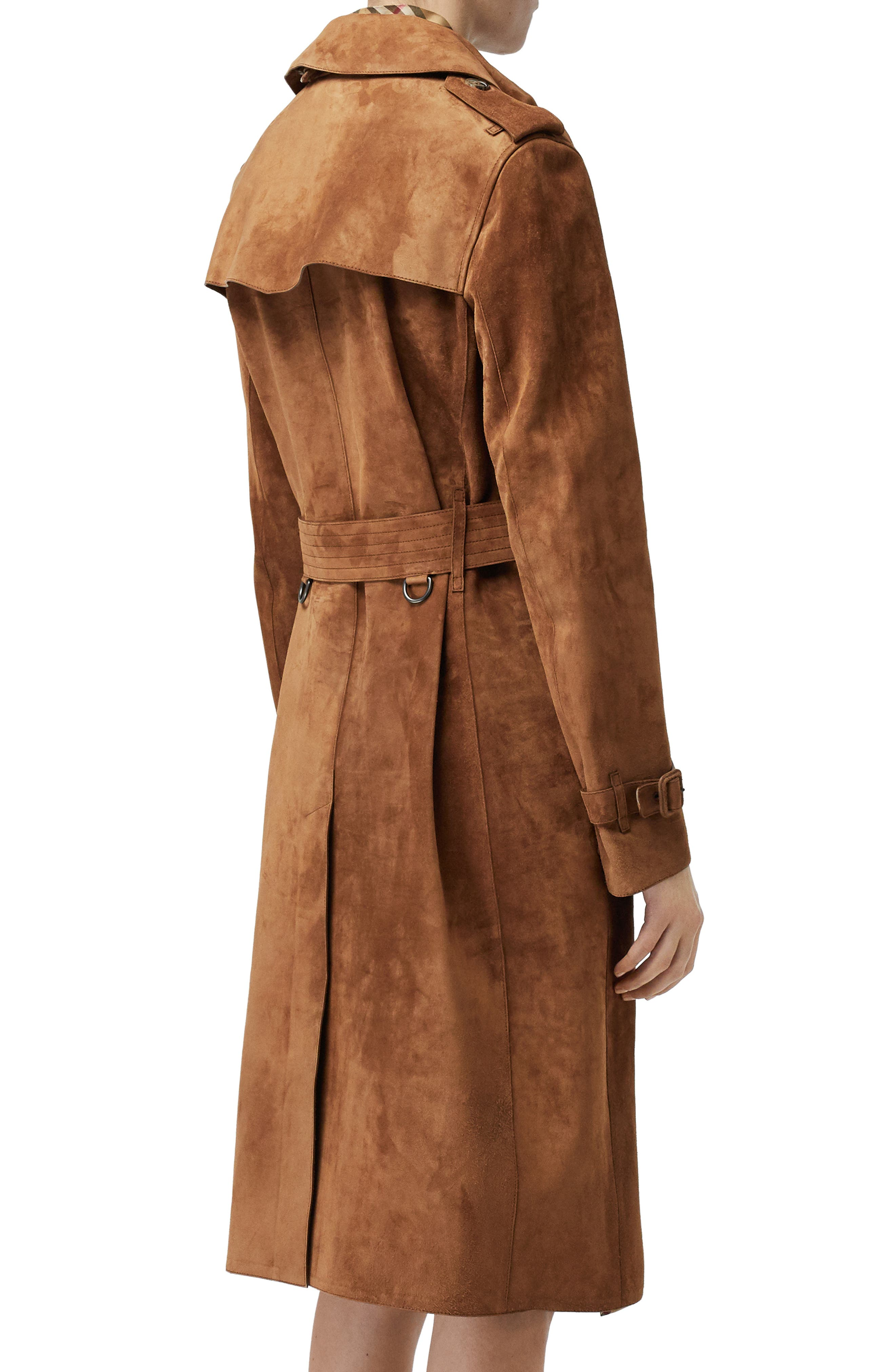 BURBERRY,                             Haddington Suede Trench Coat,                             Alternate thumbnail 3, color,                             SEPIA BROWN