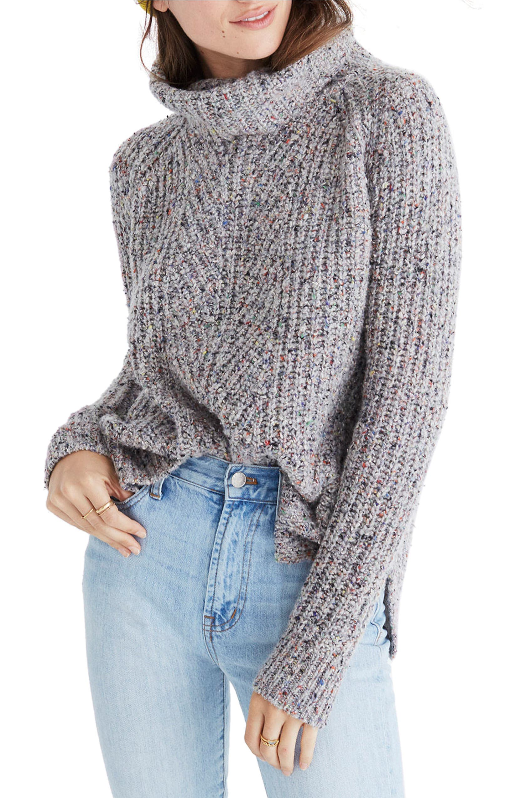 Colorfleck Ribbed Turtleneck Sweater