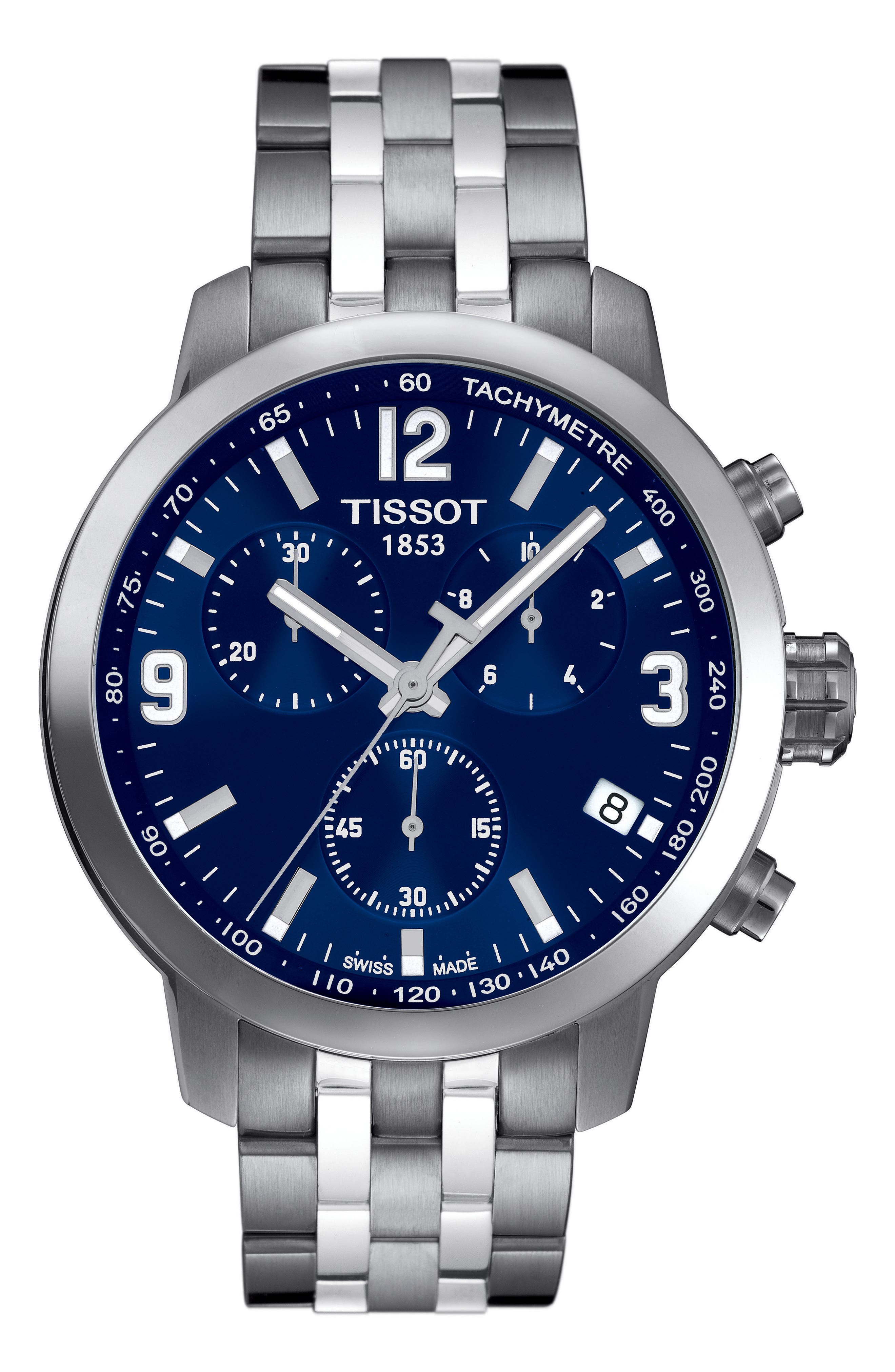 TISSOT,                             PRC200 Chronograph Bracelet Watch, 42mm,                             Main thumbnail 1, color,                             SILVER/ BLUE/ SILVER