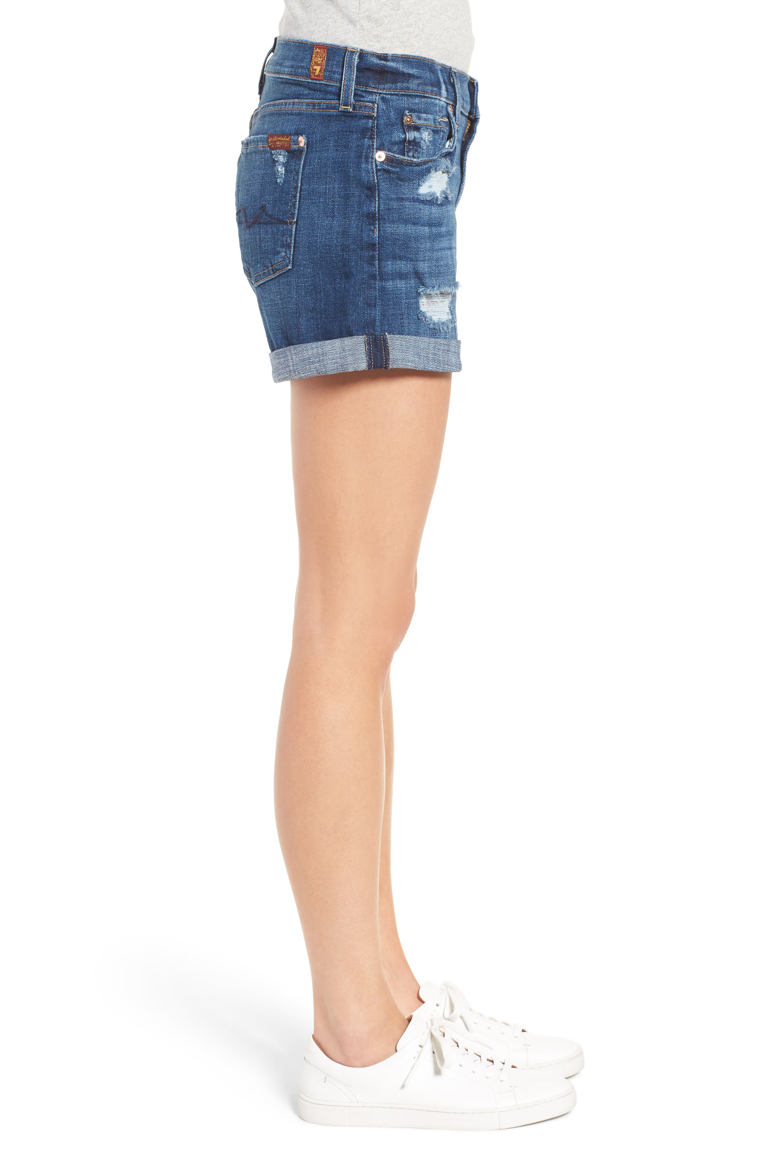Relaxed Cuffed Denim Shorts,                             Alternate thumbnail 3, color,                             400