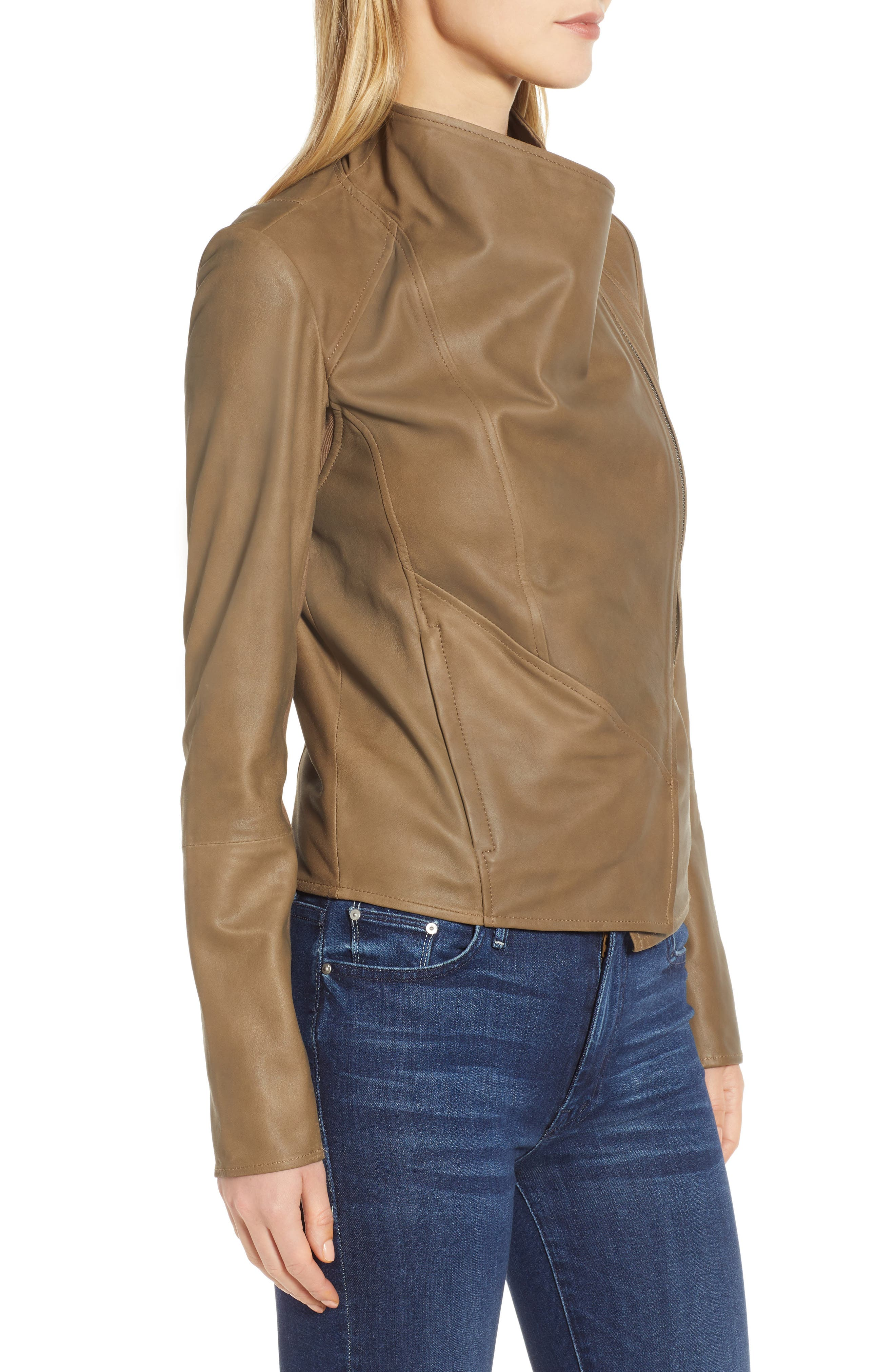 Asymmetrical Zip Front Leather Cascade Jacket,                             Alternate thumbnail 3, color,                             TAUPE
