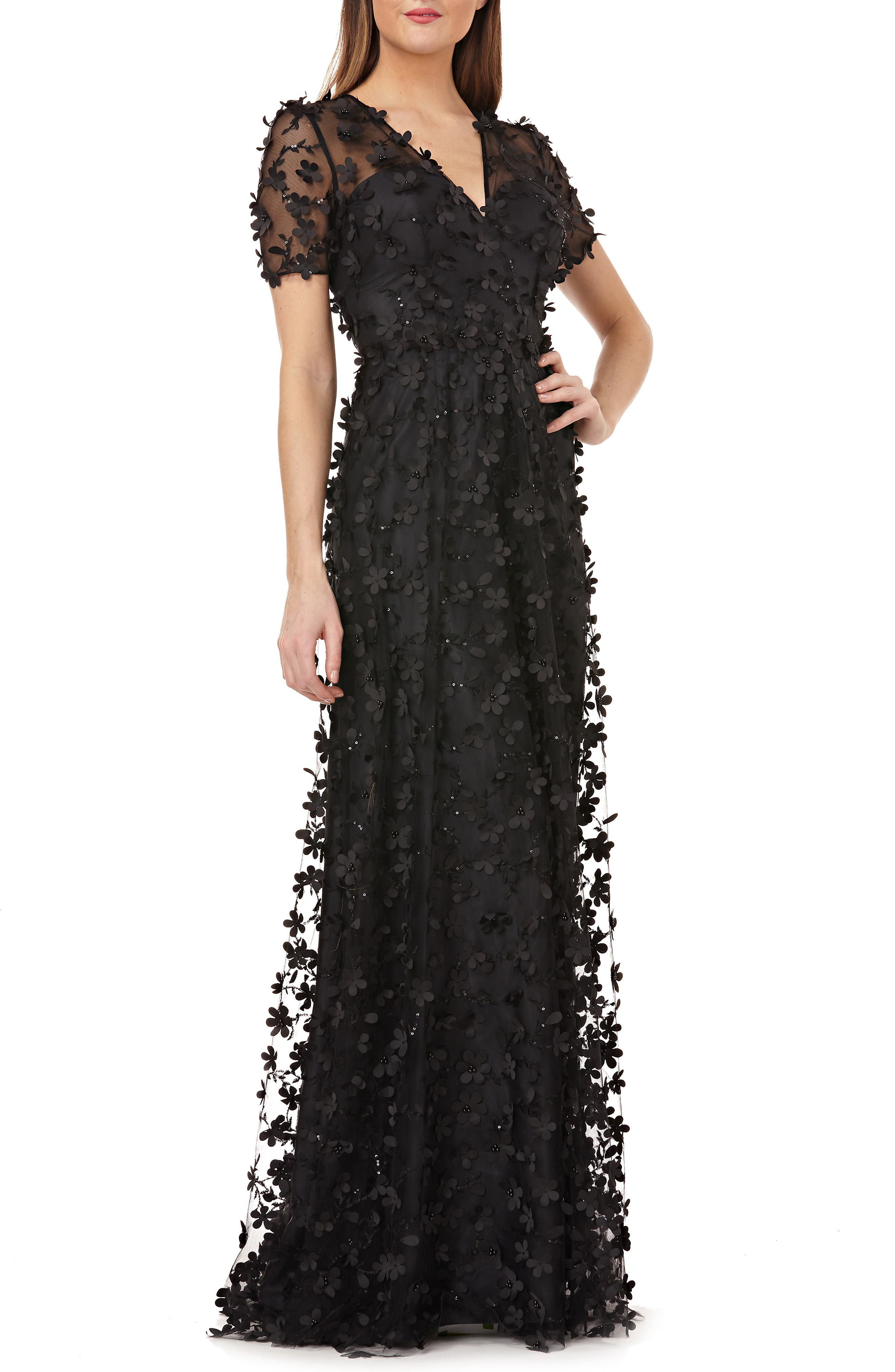 Carmen Marc Valvo Infusion 3D Novelty Gown, Black